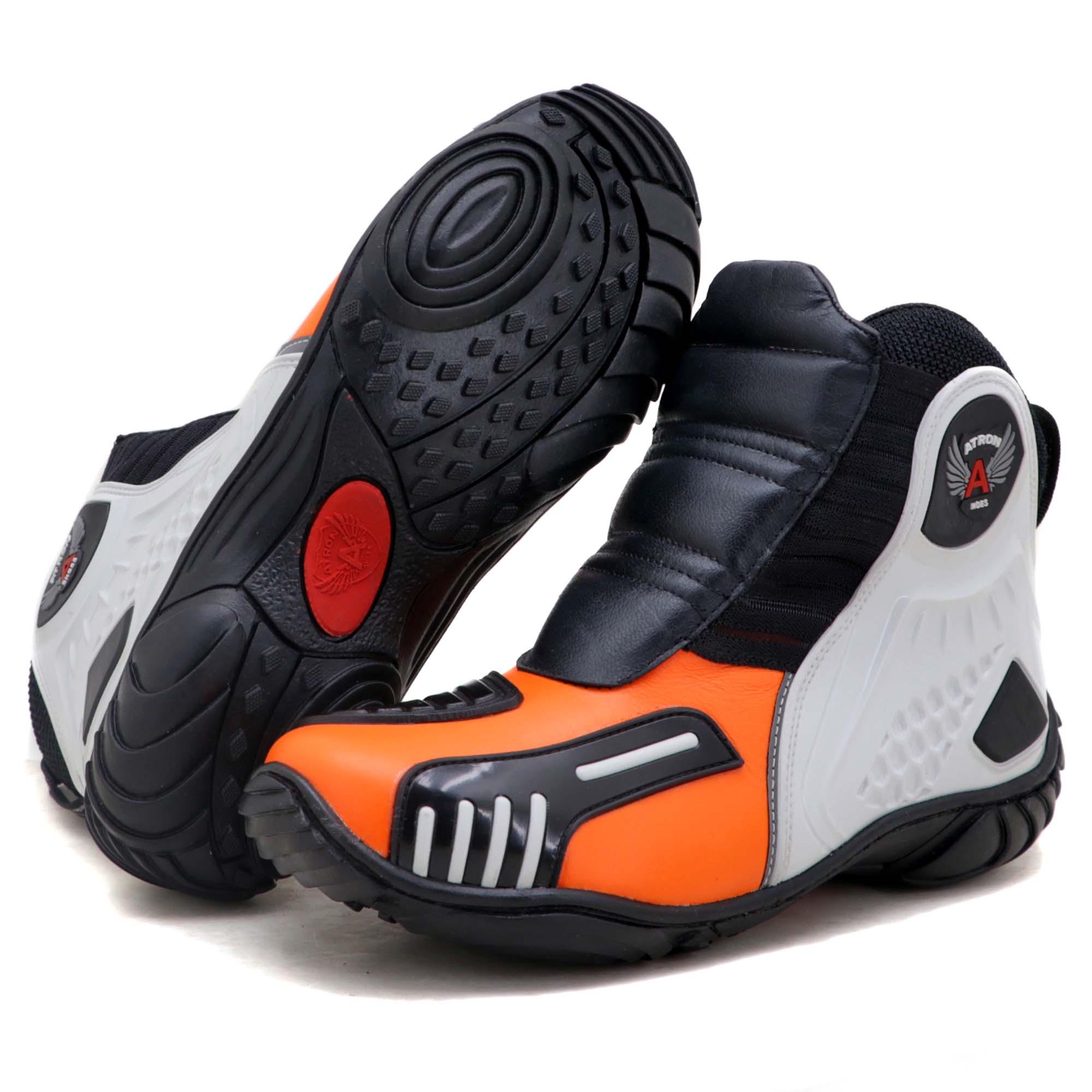 Bota motociclista Atron Shoes AS-HIGHWAY em couro legítimo semi-impermeável emborrachada Com elástico na cor Laranja 408