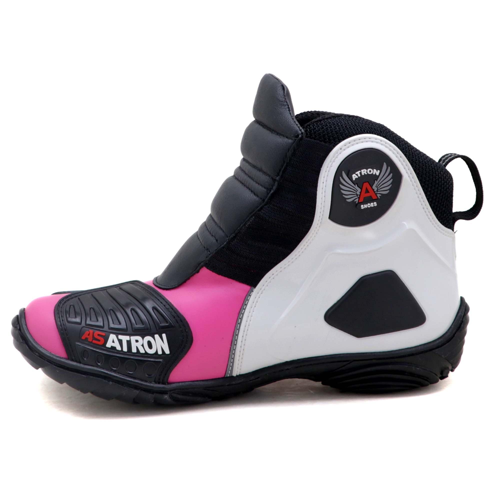 Bota motociclista Atron Shoes AS-HIGHWAY em couro legítimo semi-impermeável emborrachada Com elástico na cor Pink 408