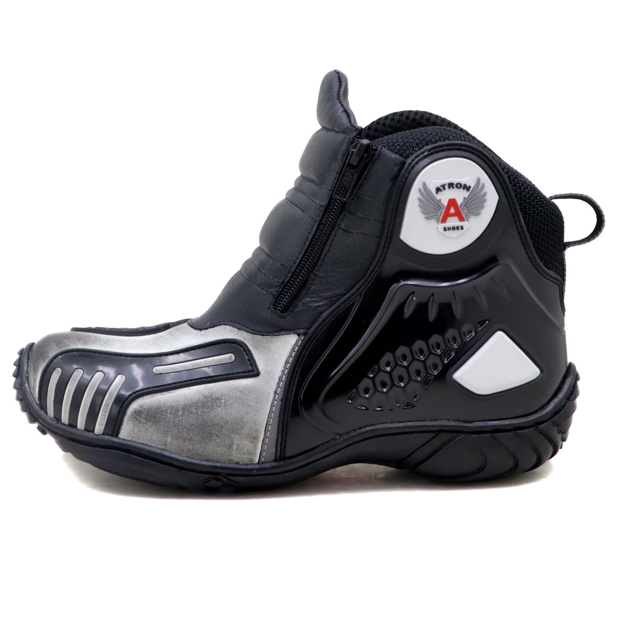 Bota motociclista Atron Shoes AS-HIGHWAY em couro legítimo semi-impermeável emborrachada na cor ASfalto 407