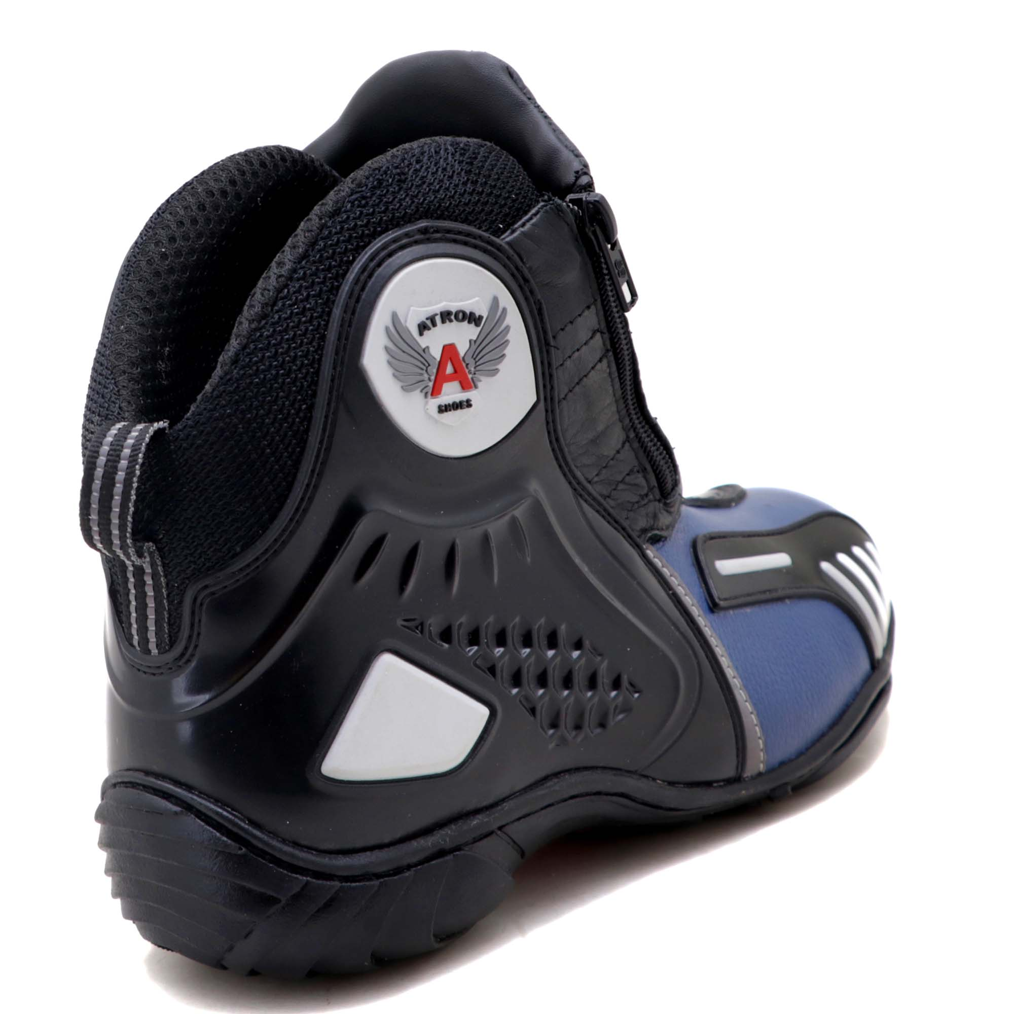 Bota motociclista Atron Shoes AS-HIGHWAY em couro legítimo semi-impermeável emborrachada na cor Azul 407