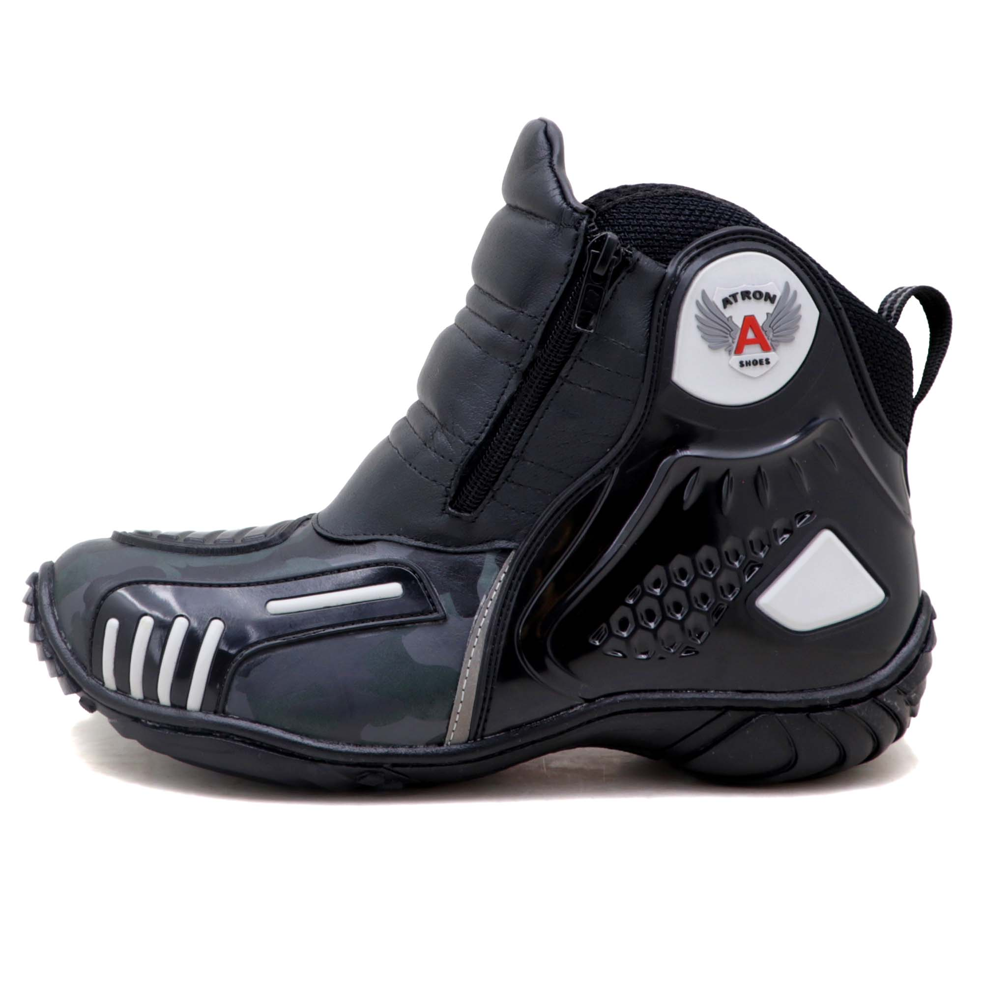 Bota motociclista Atron Shoes AS-HIGHWAY em couro legítimo semi-impermeável emborrachada na cor Cinza Camuflado 407