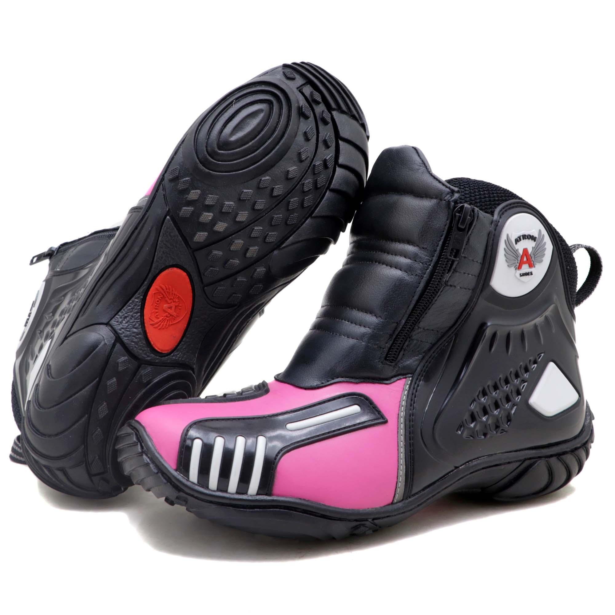 Bota motociclista Atron Shoes AS-HIGHWAY em couro legítimo semi-impermeável emborrachada na cor Pink 407