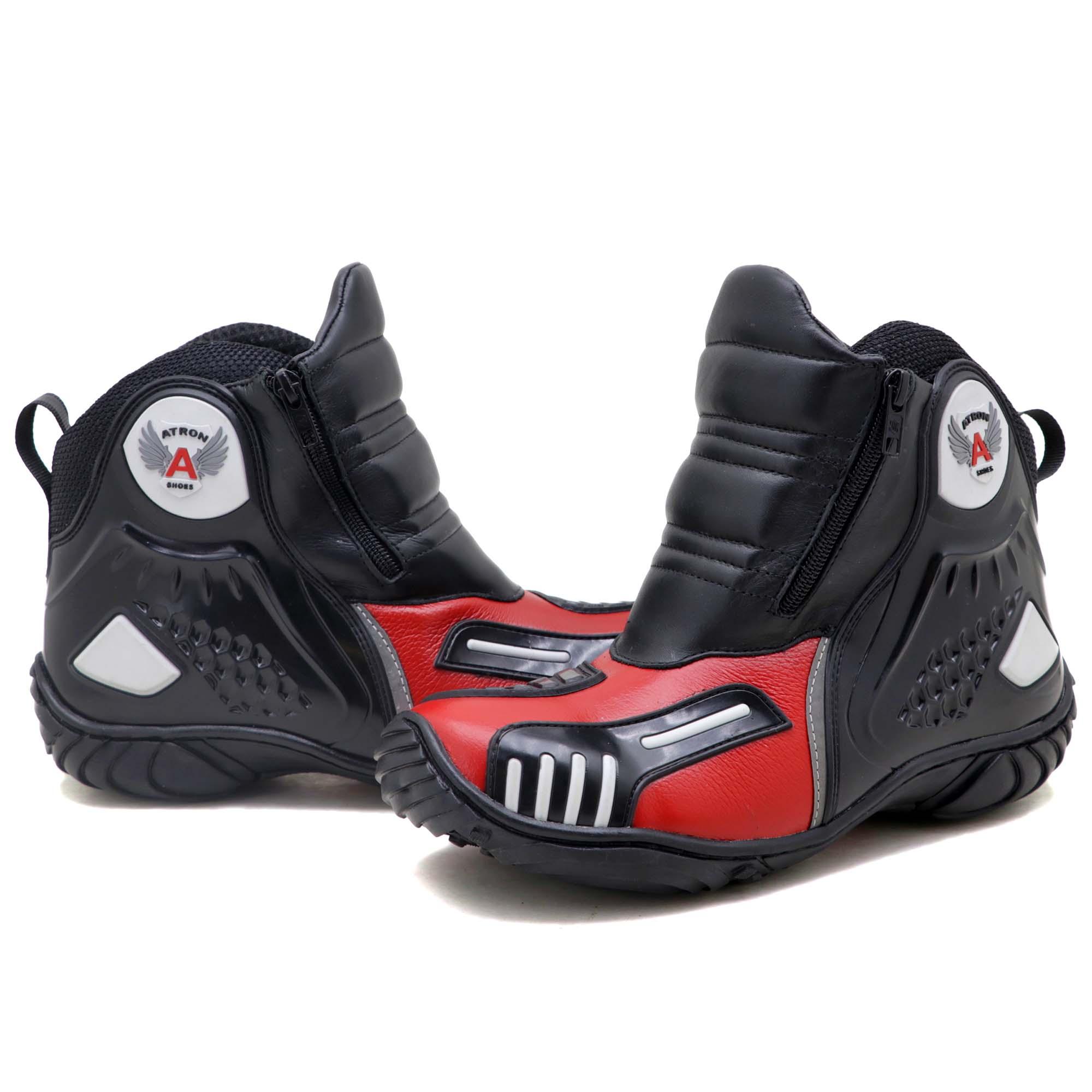 Bota motociclista Atron Shoes AS-HIGHWAY em couro legítimo semi-impermeável emborrachada na cor Vermelho 407