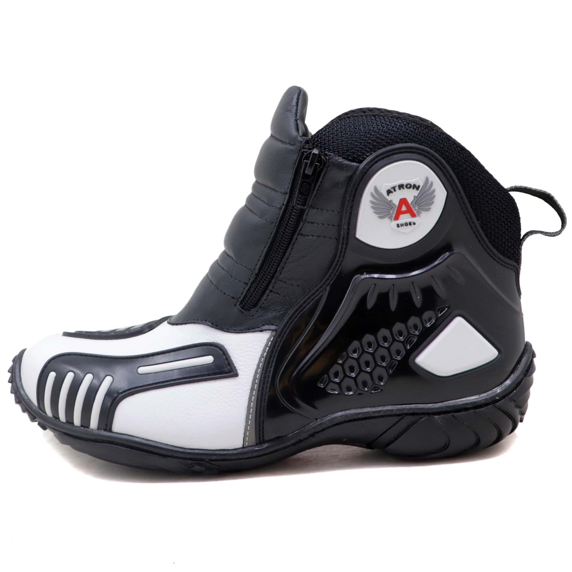 Bota motociclista Atron Shoes AS-HIGHWAY em couro legítimo semi-impermeável emborrachada nas cores branco  407