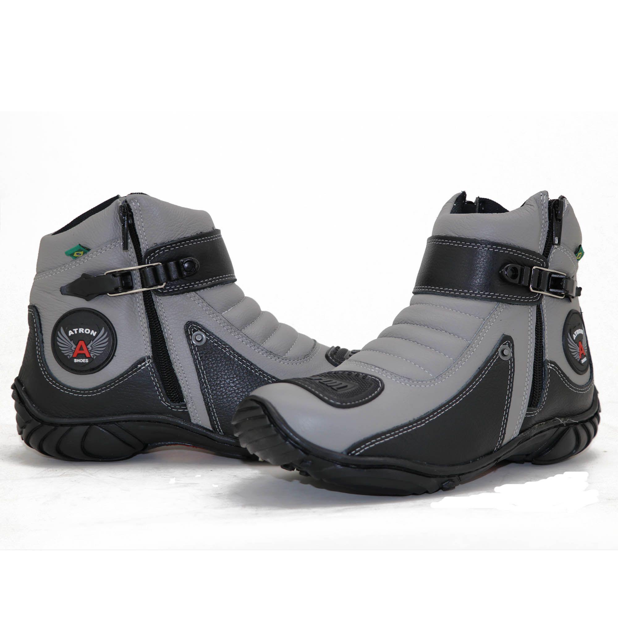 Bota motociclista Atron Shoes em couro legítimo 271 personalizado cinza e preto