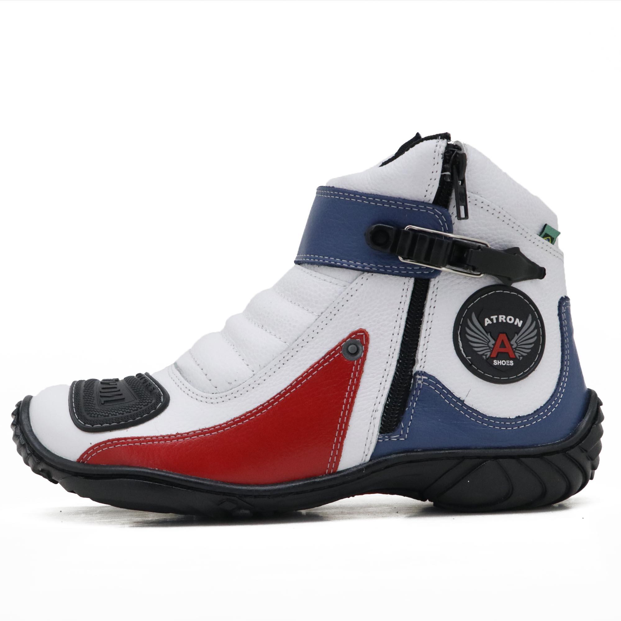 Bota motociclista Atron Shoes em couro legítimo nas cores branco azul e vermelho 271