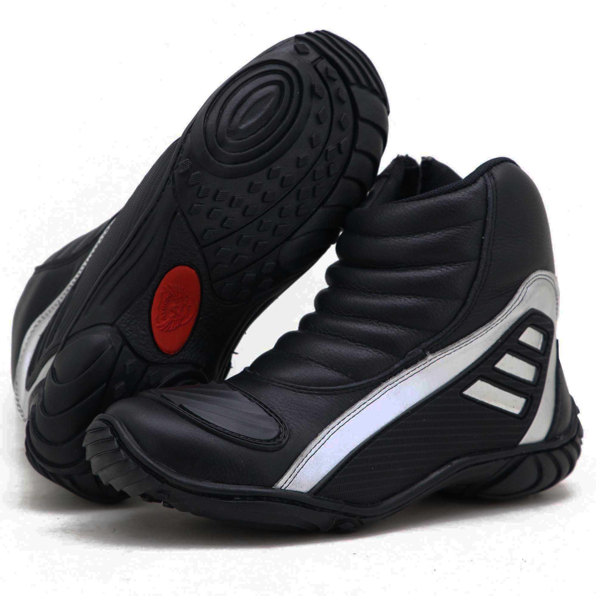 Bota motociclista Atron Shoes Refletiva em couro legítimo resistente a água nas cores preto e prata 279