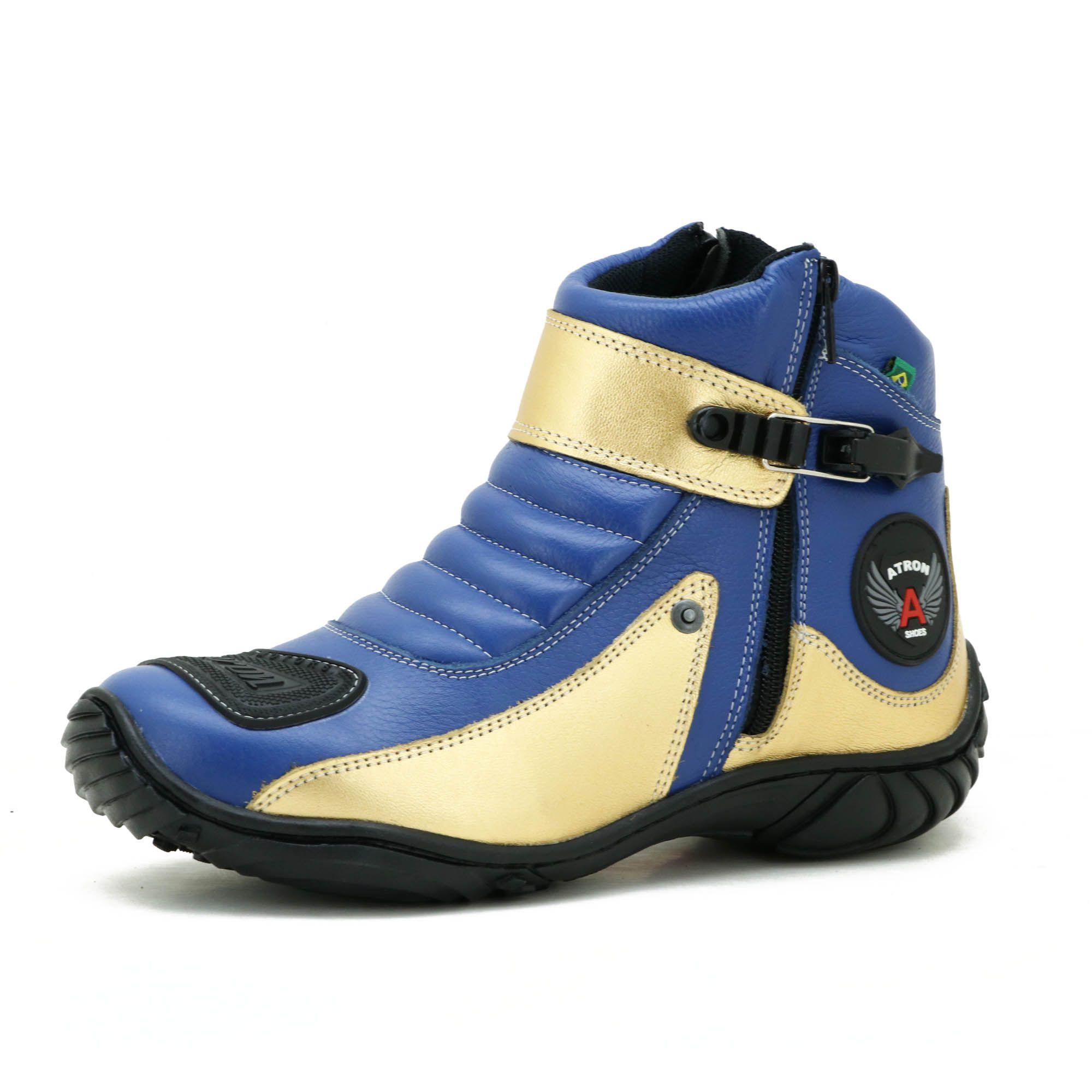 Bota motociclista azul e dourada Atron Shoes 271