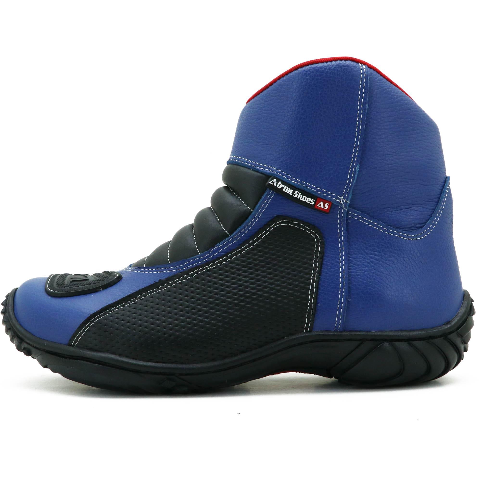 Bota motociclista azul semi impermeável de couro legítimo 305