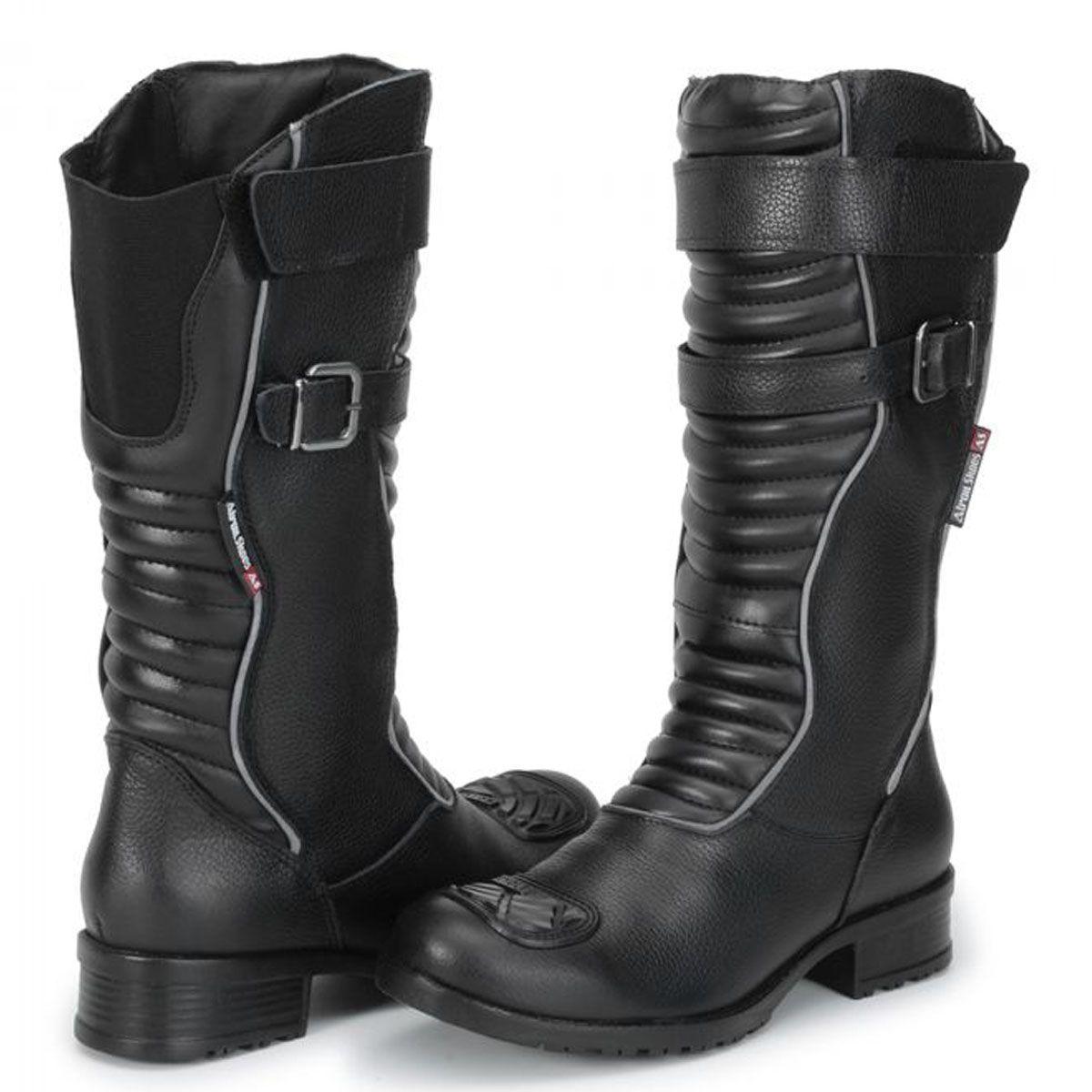 13379947d Bota para motociclista cano alto feminina com refletivo em couro preto