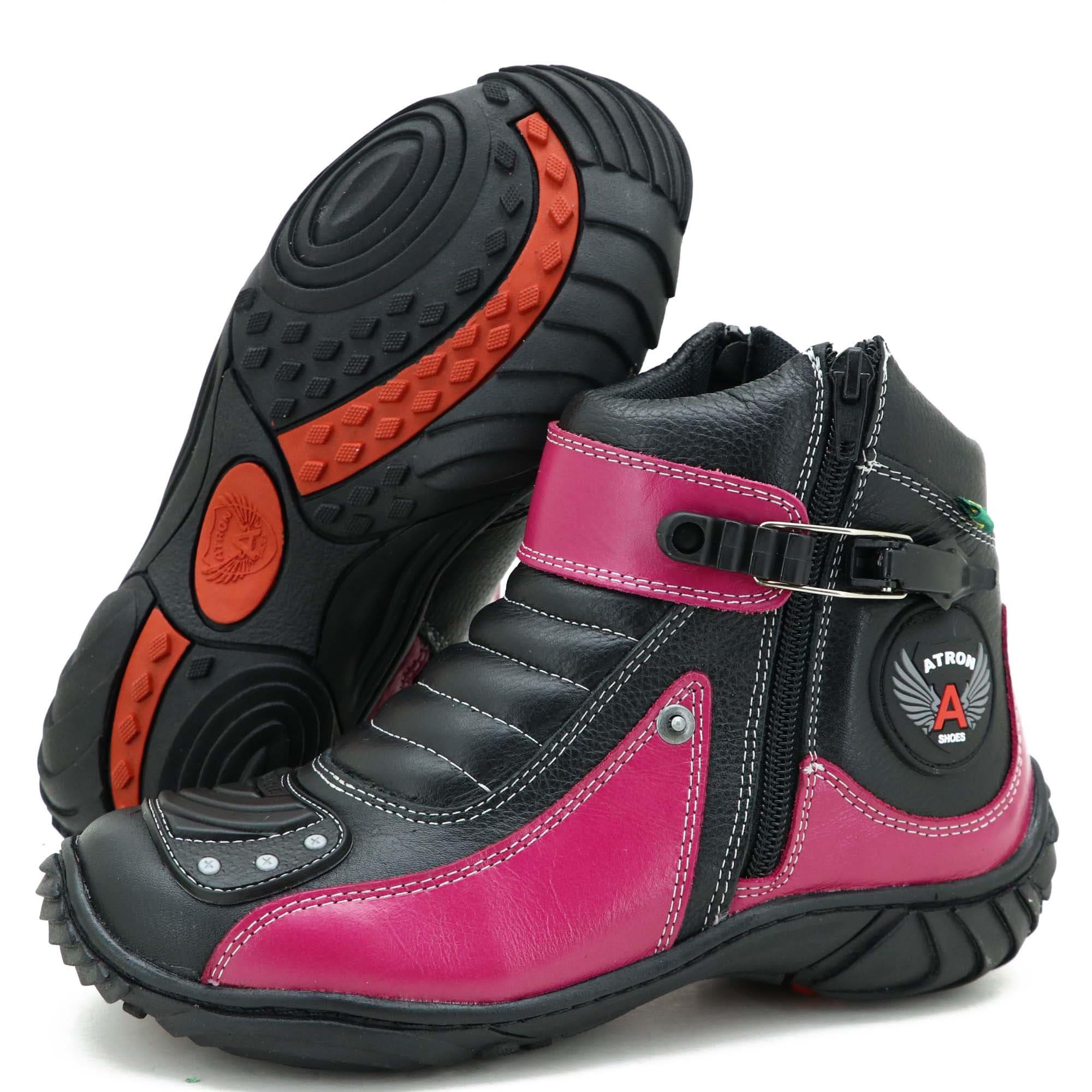 Bota motociclista  feminina de couro 271 Pink