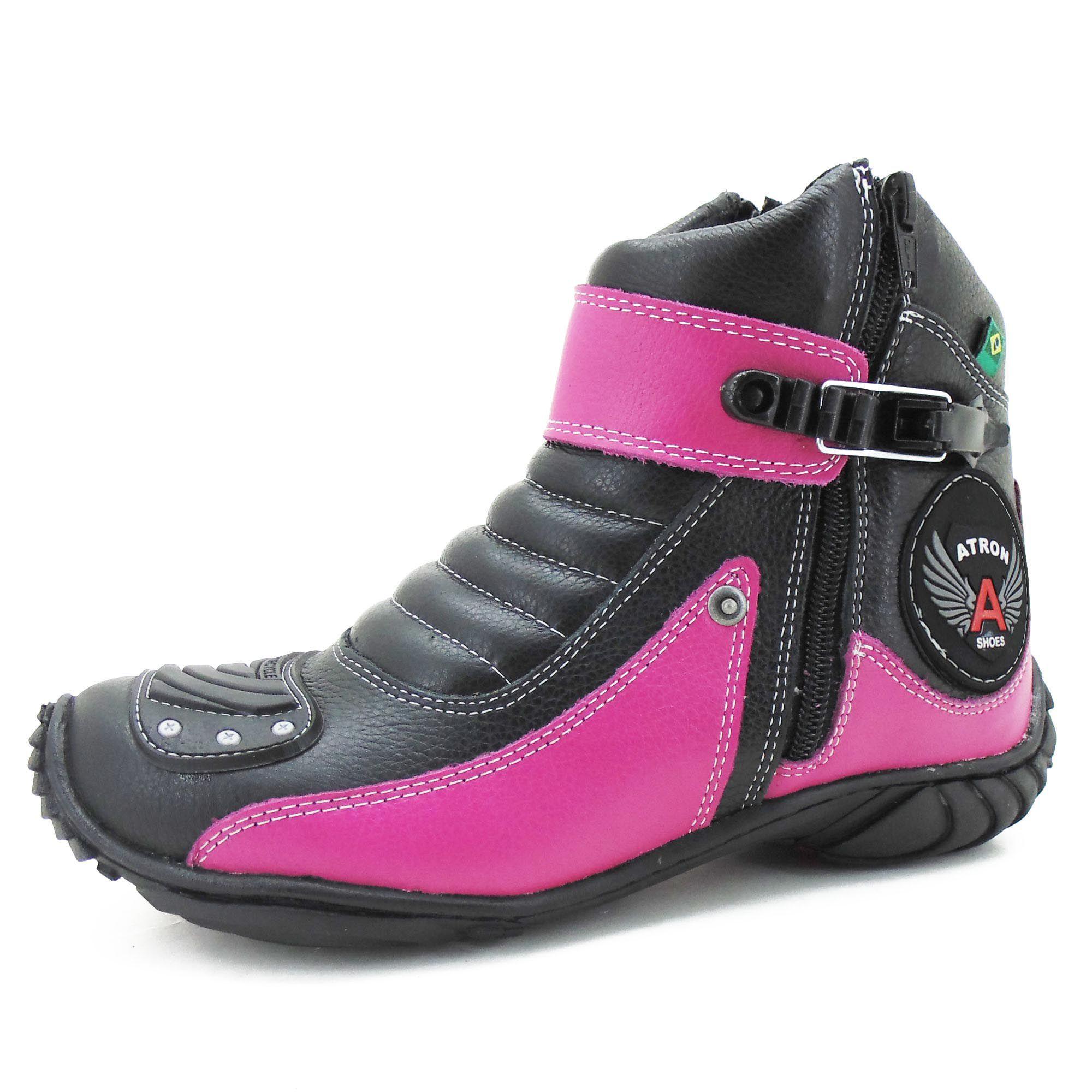 Bota Motociclista Couro Legítimo 271 Pink