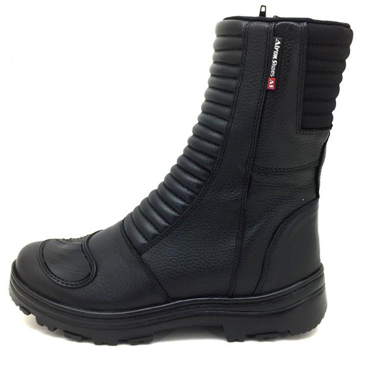 3f98403fcac Bota motociclista cano alto Atron Shoes de couro preto 278