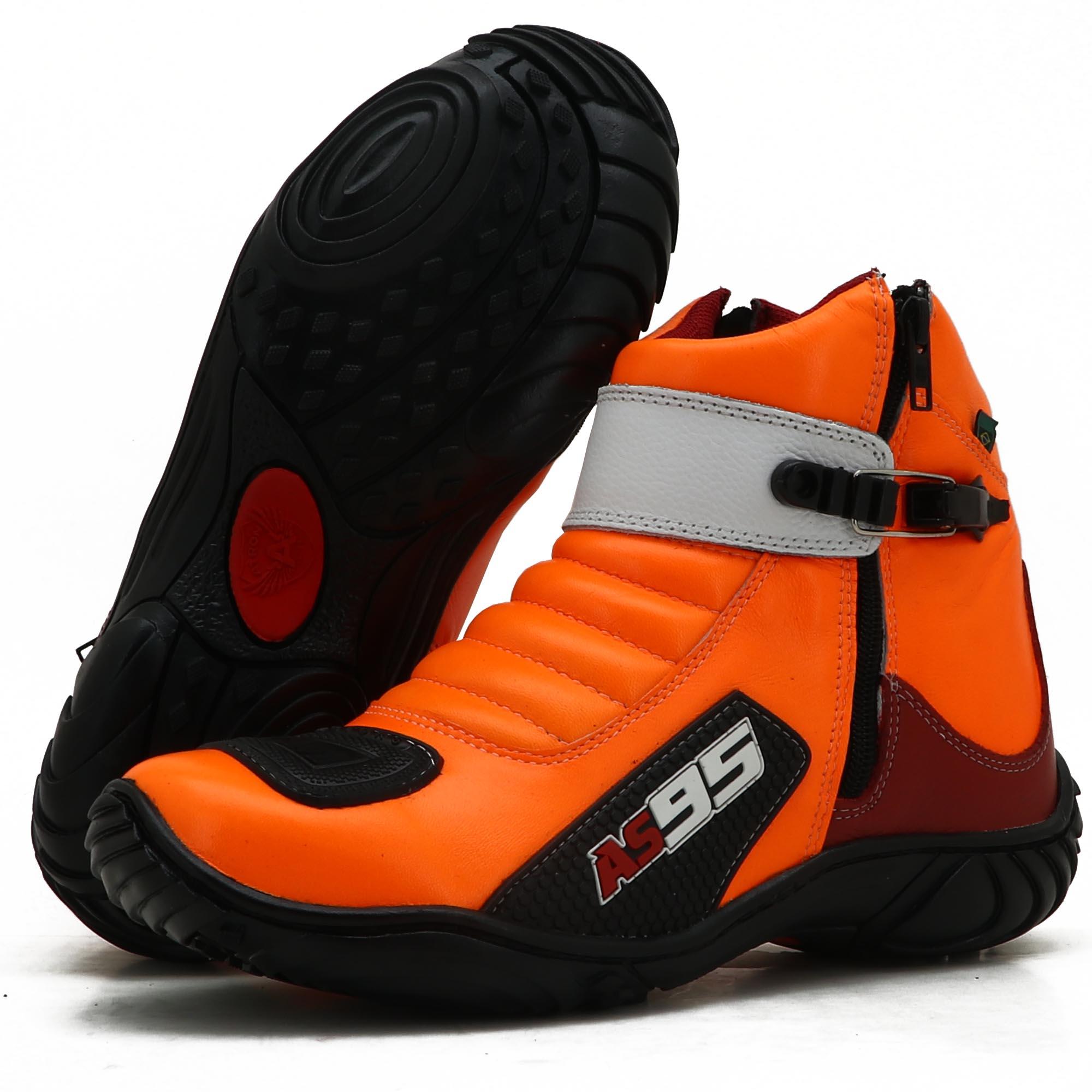 Bota Motociclista Couro Legítimo Laranja Vermelho Branco AS95