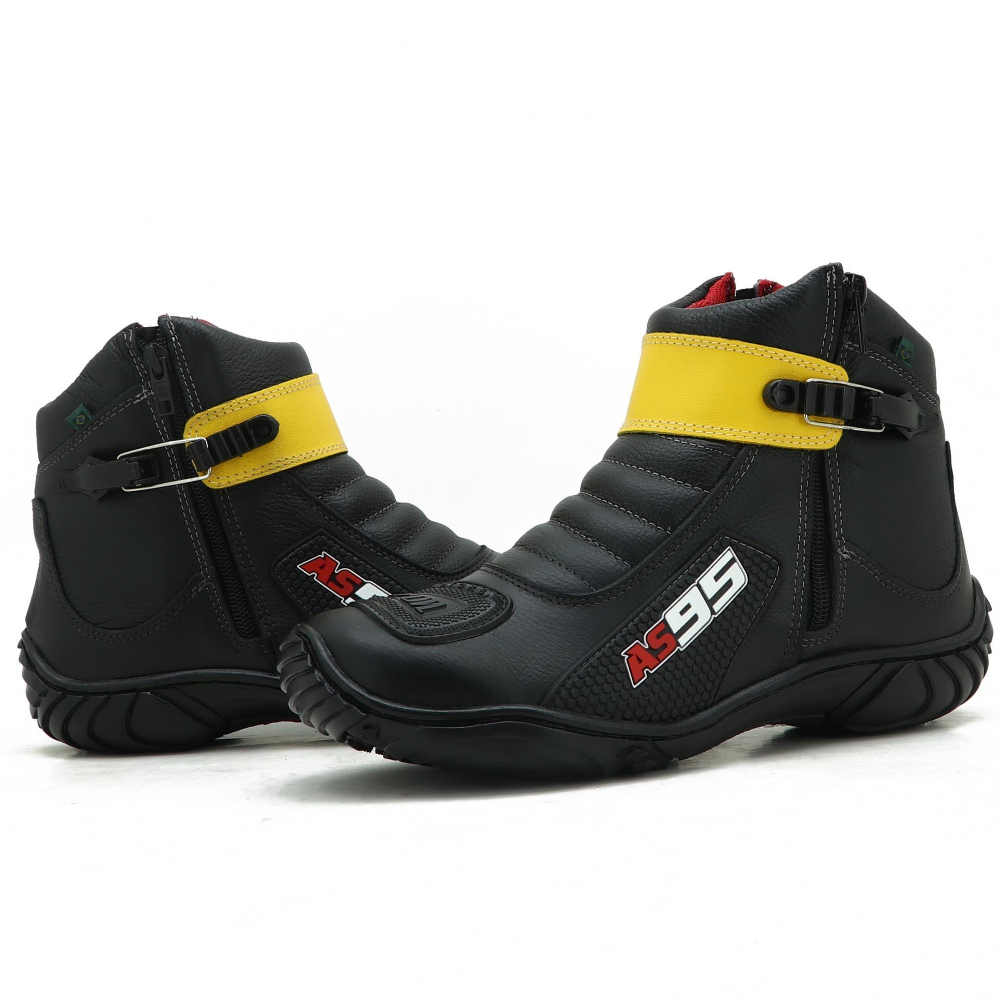 Bota motociclista Couro Legítimo na cor Preto com Amarelo Atron Shoes AS95