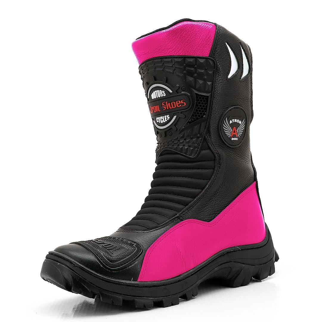 Bota Motociclista Couro Legítimo Preta Pink  - GRÁTIS 1 CARTEIRA - 302
