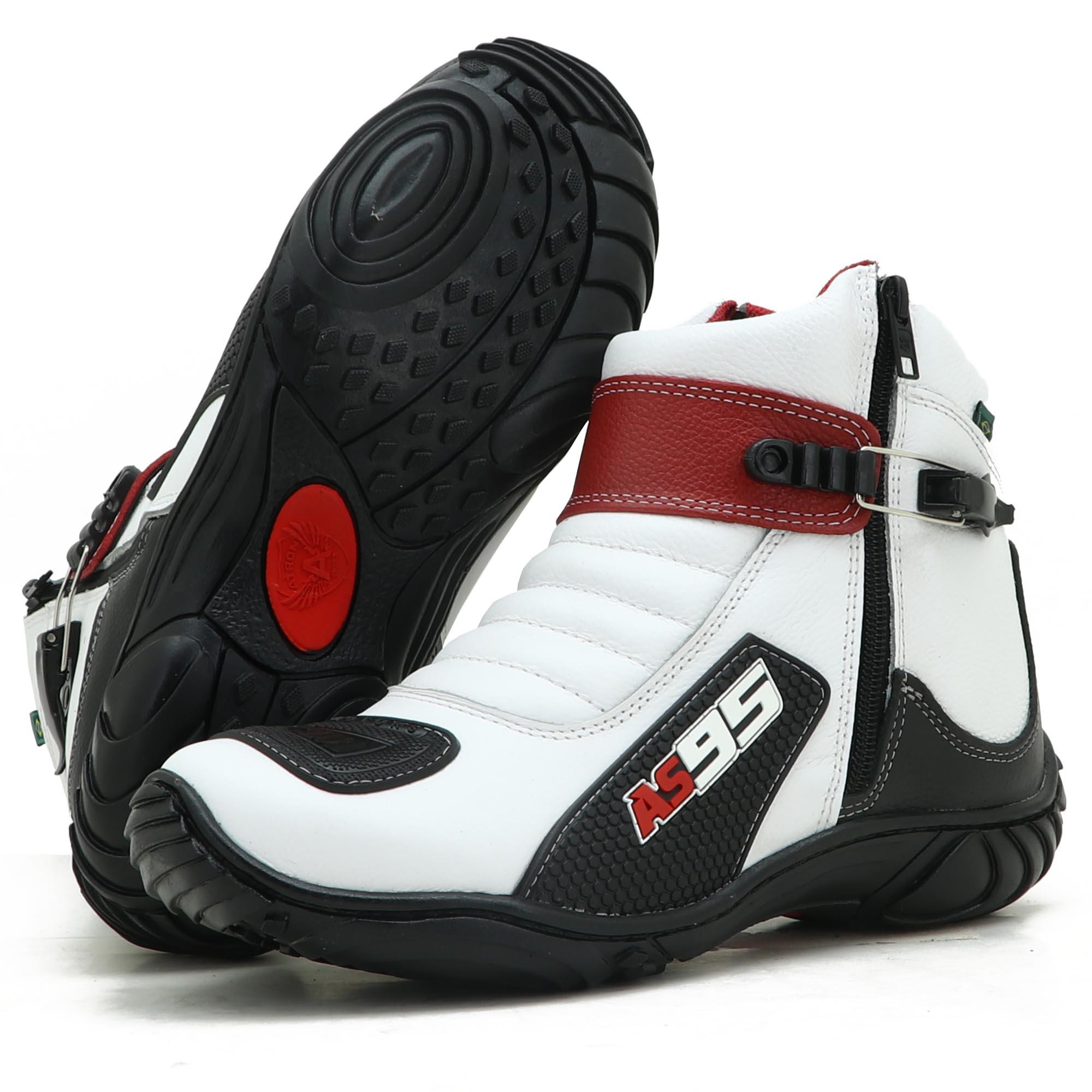 Bota Motociclista Couro Legítimo Unissex Nas Cores Branco Preto e Vermelho AS95