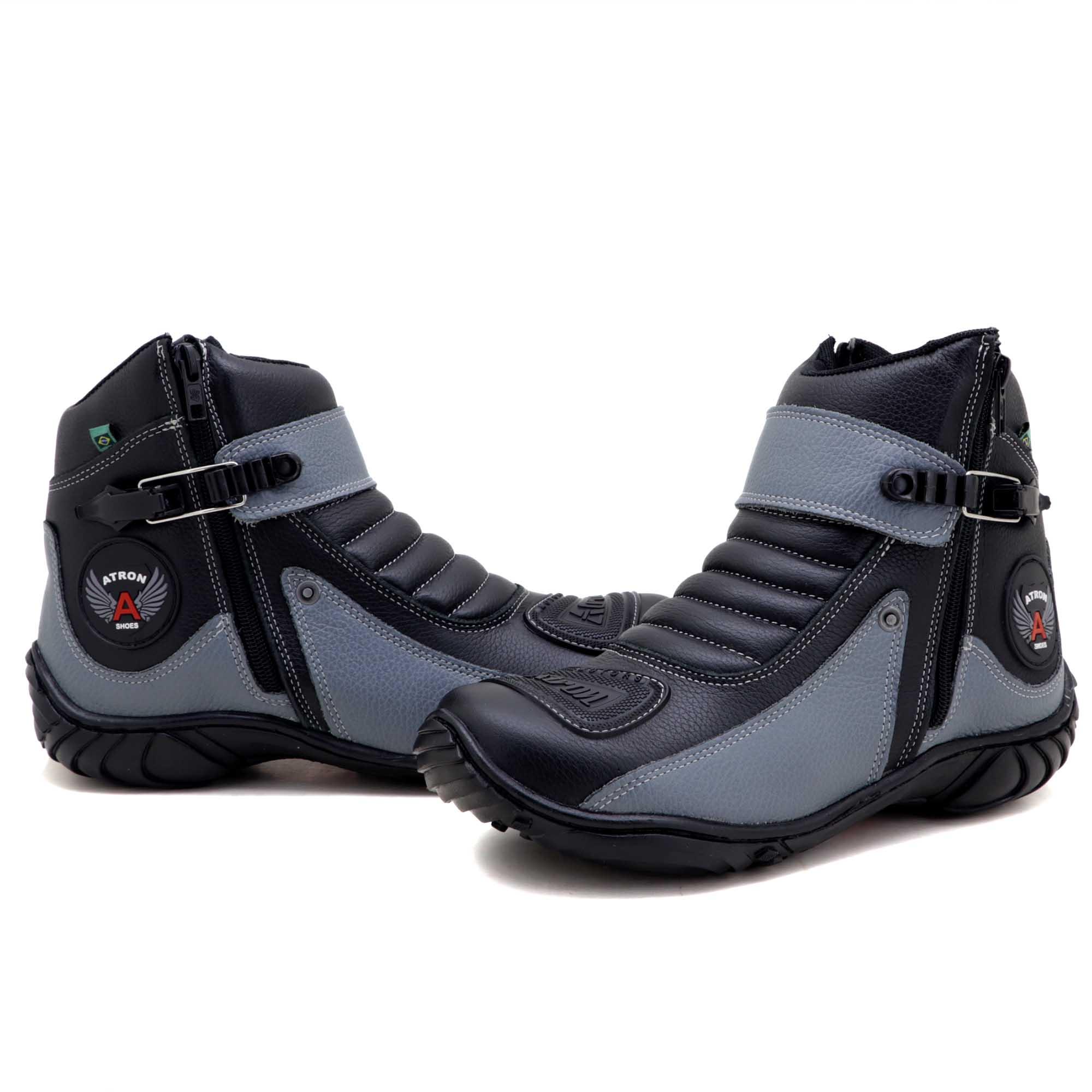 Bota motociclista de couro legítimo na cor preta e cinza 271