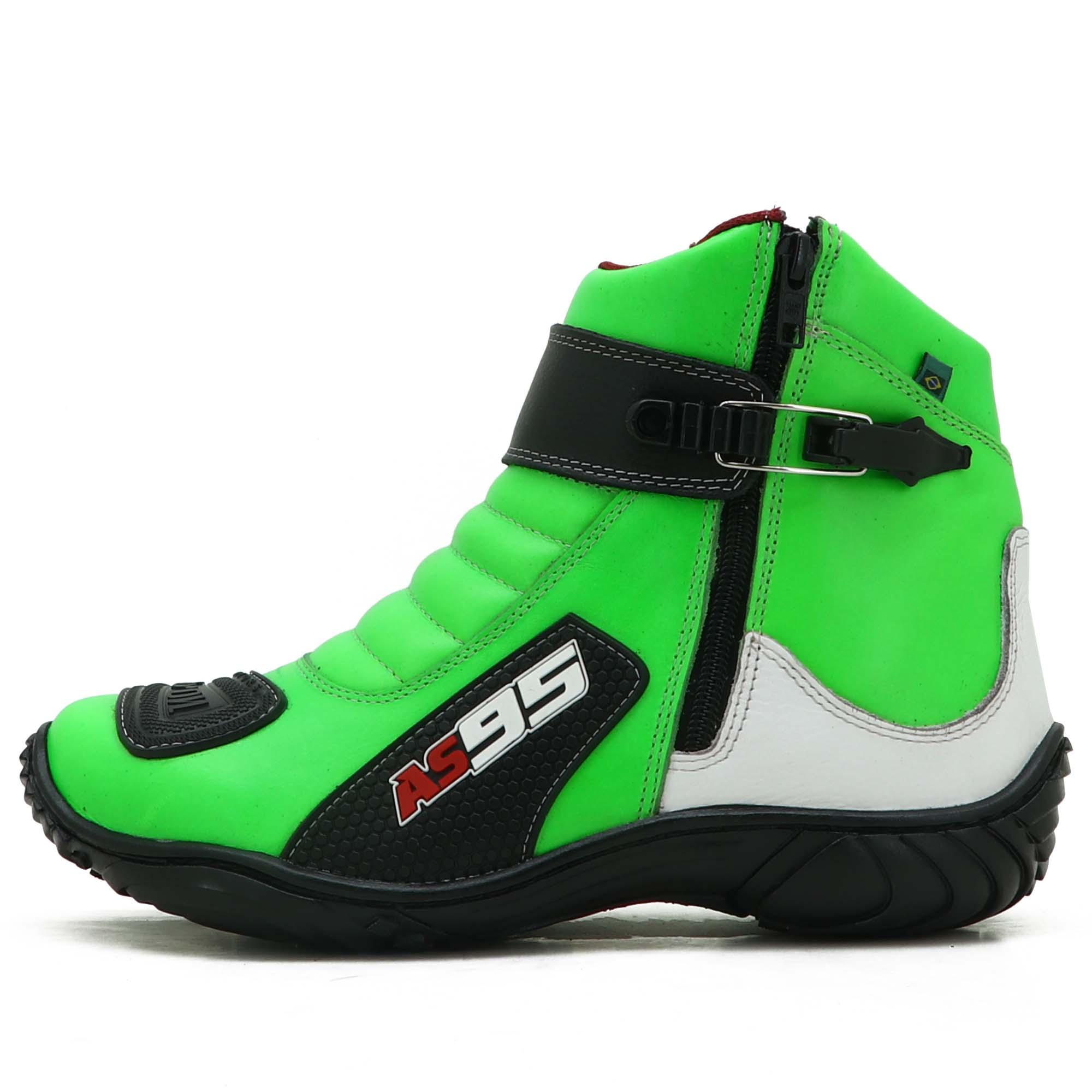 Bota motociclista de couro legítimo nas cores verde branco e preto com zíper AS95