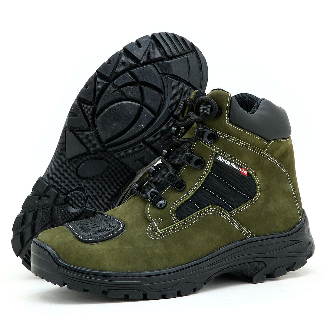Bota motociclista e adventure Atron Shoes na cor verde oliva 245