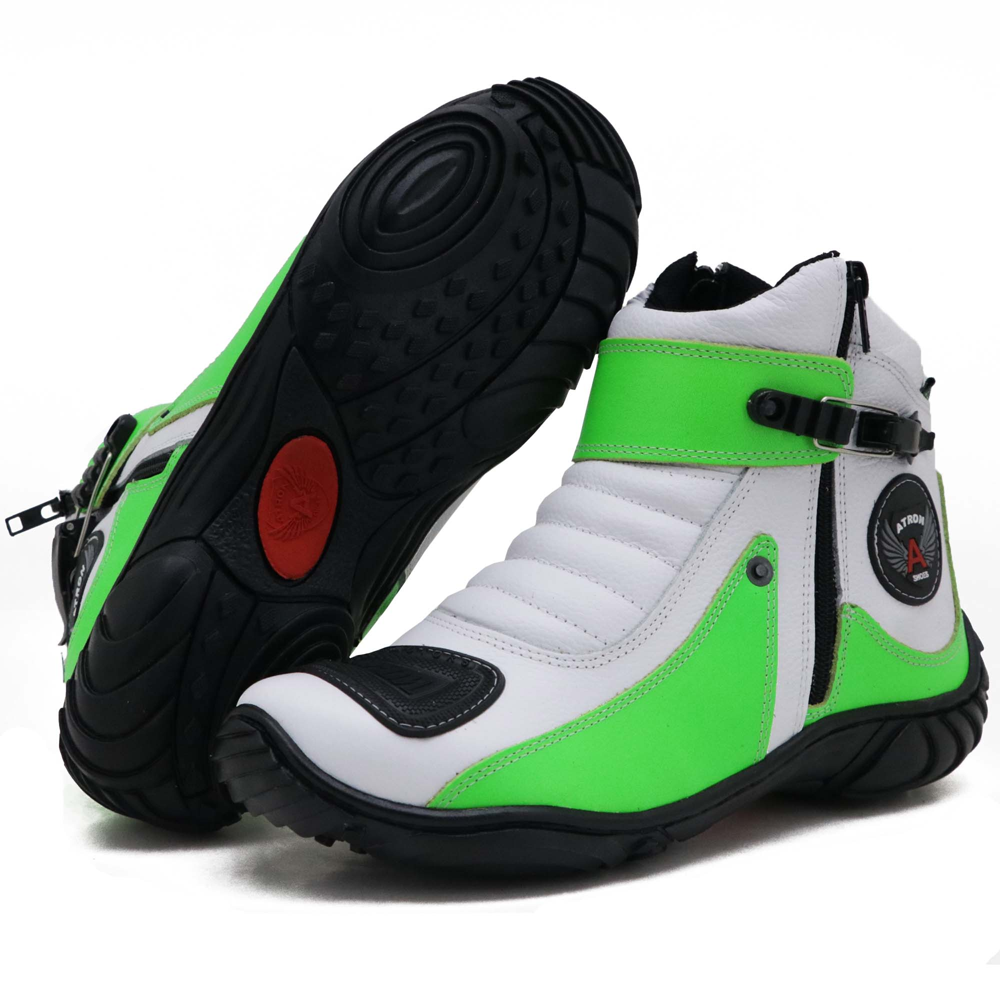 Bota motociclista em couro legítimo 271 personalizado branco com verde