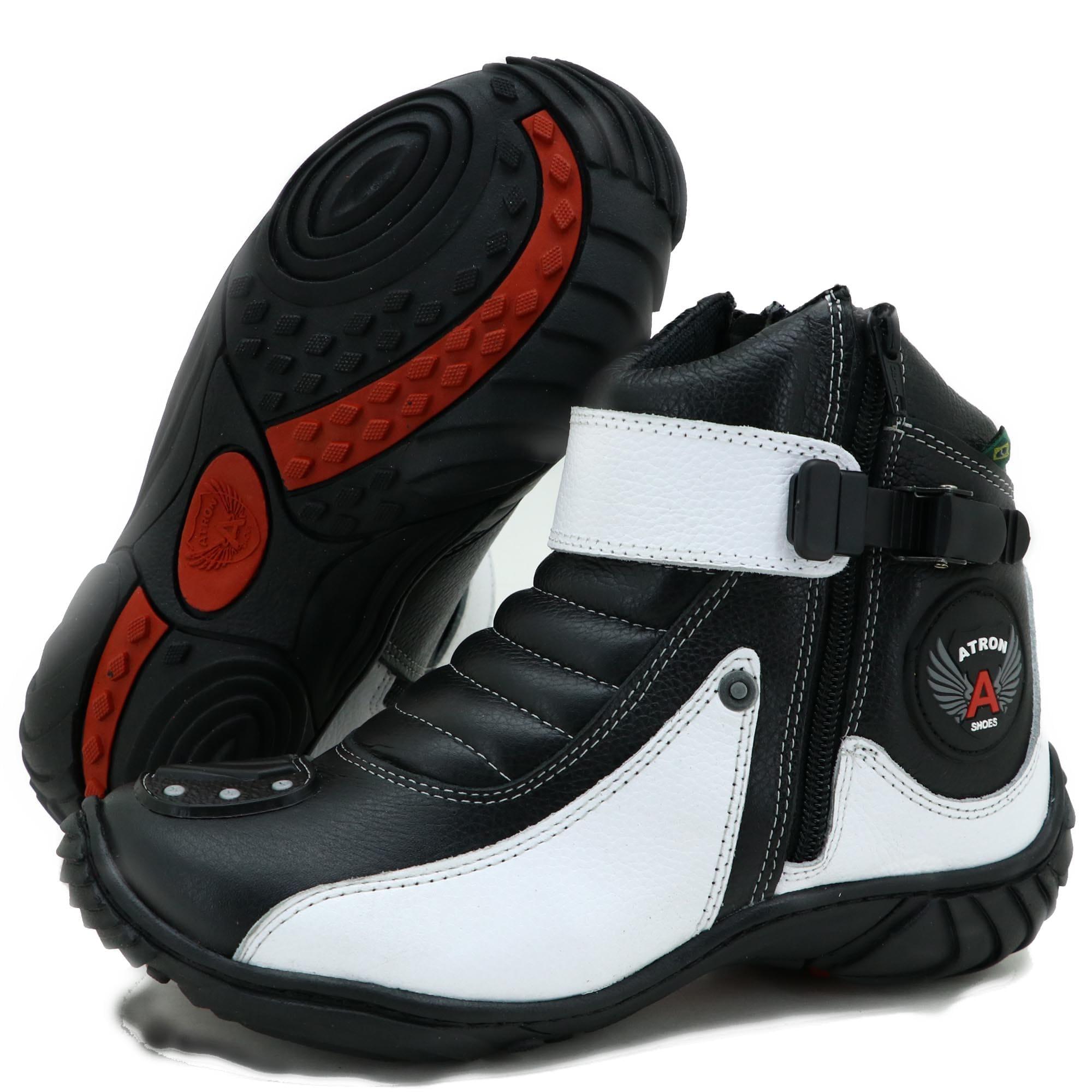 Bota motociclista em couro legítimo na cor preta e branca 271