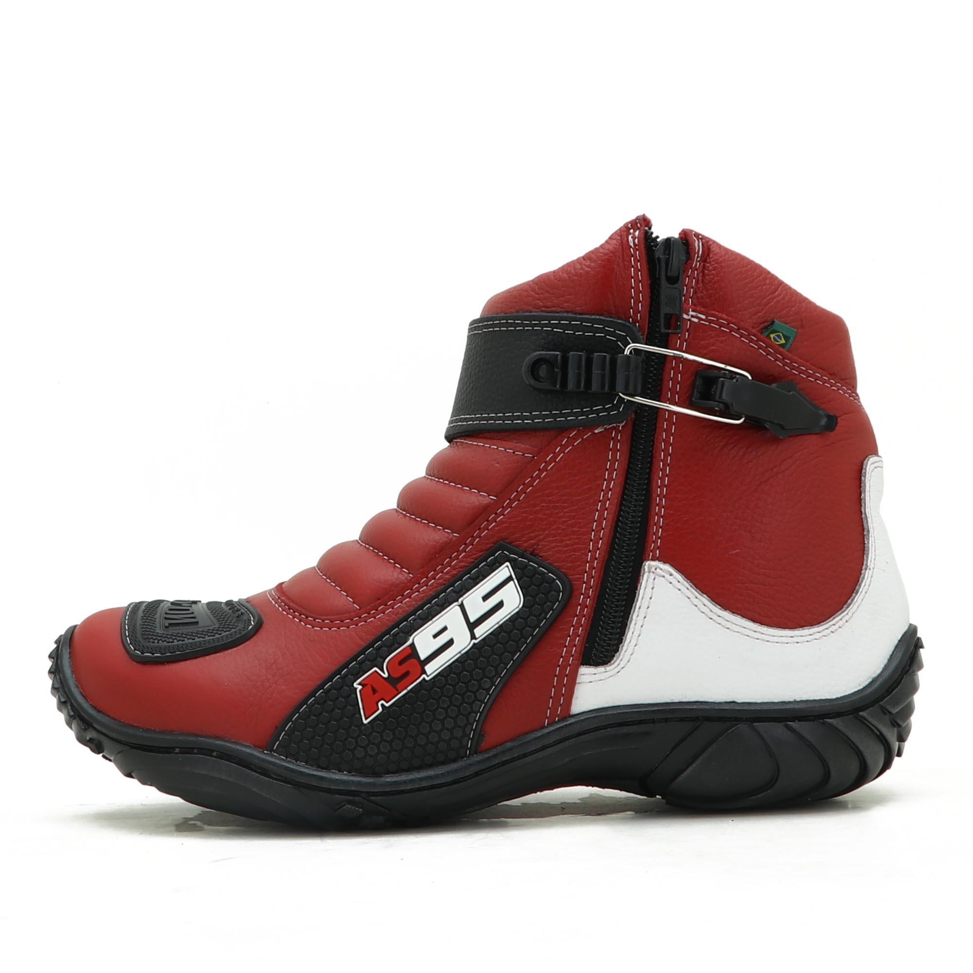 Bota motociclista Em couro Legítimo Vermelho branco e preto AS95