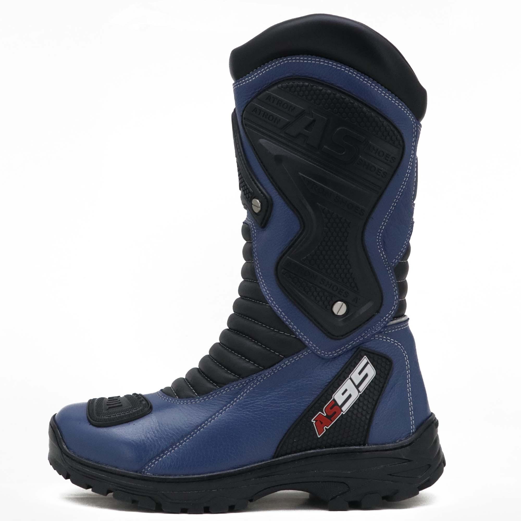 Bota motociclista na cor azul em couro legítimo AS95-PRO 405