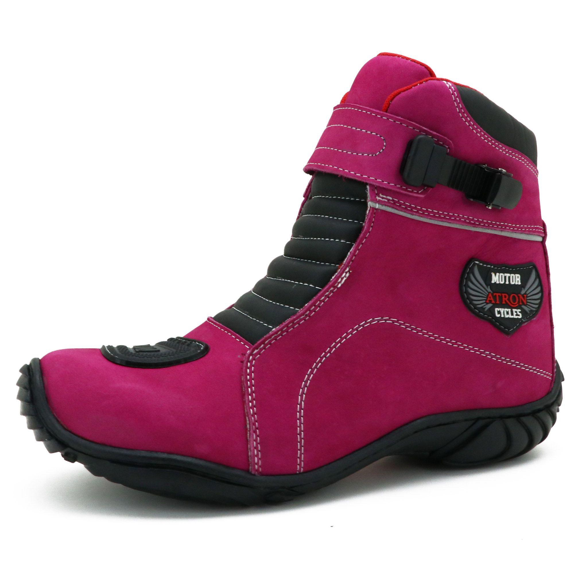 Bota motociclista pink feminina com tira reguladora semi impermeável 287