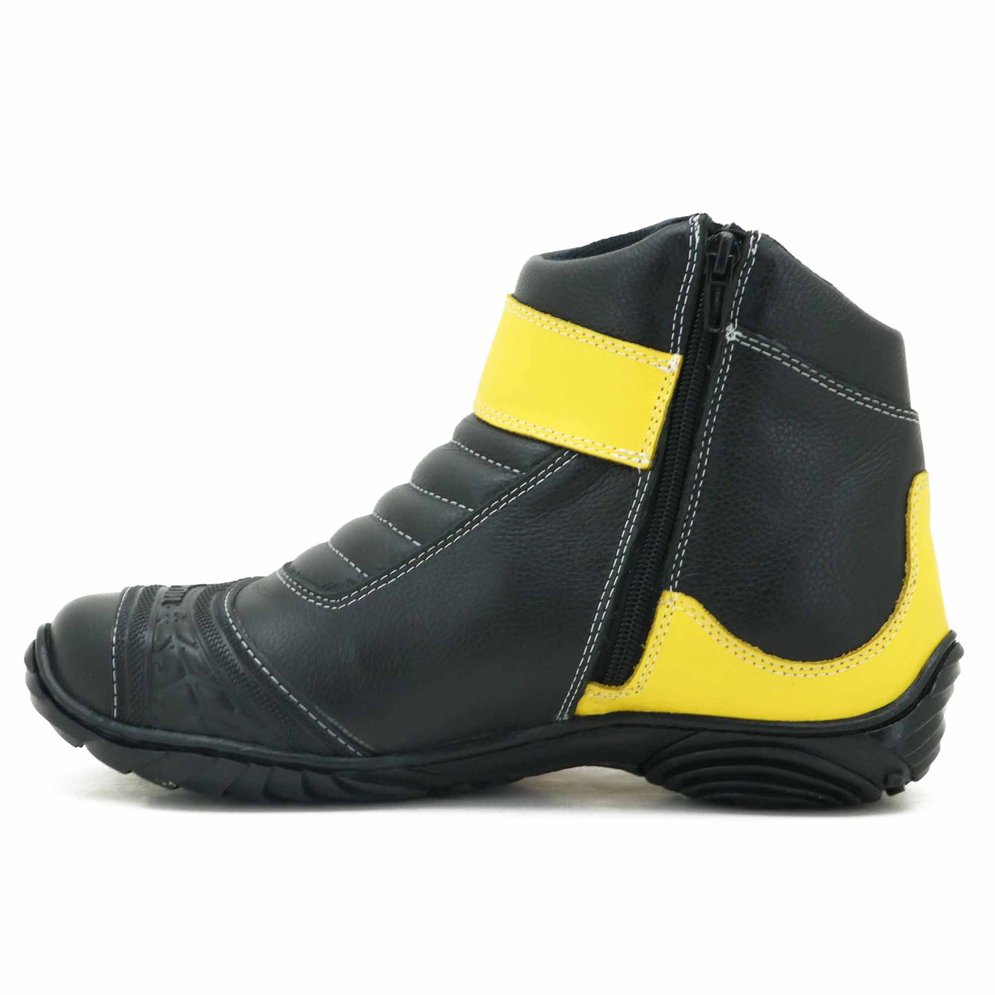 Bota motociclista preto e amarelo em couro na cor da moto 271