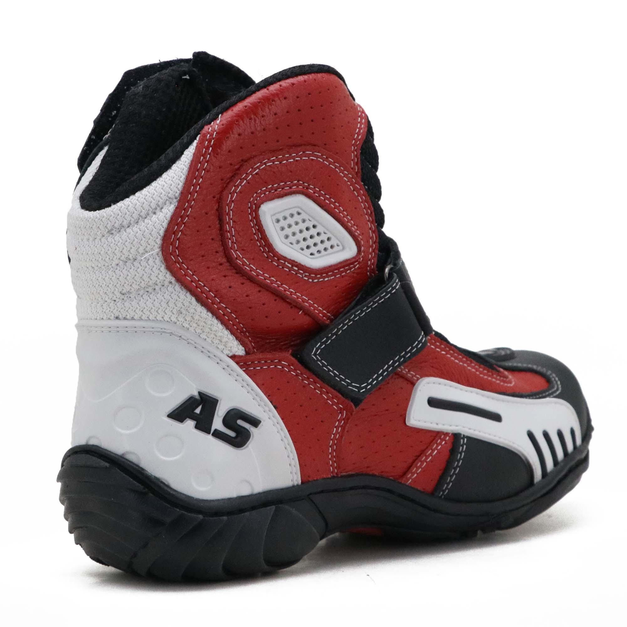 """Bota motociclista respirável """"vented boots em couro legítimo nas cores preto branco e vermelho 406"""