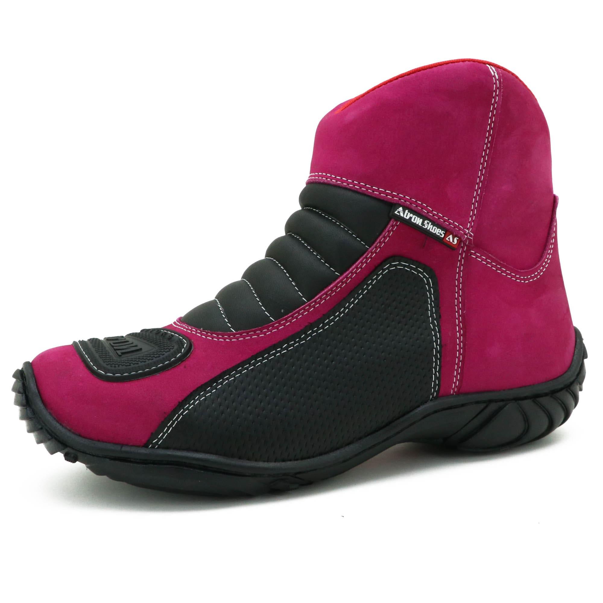 Bota motociclista semi impermeável de couro nobuck na cor pink com chinelo 305