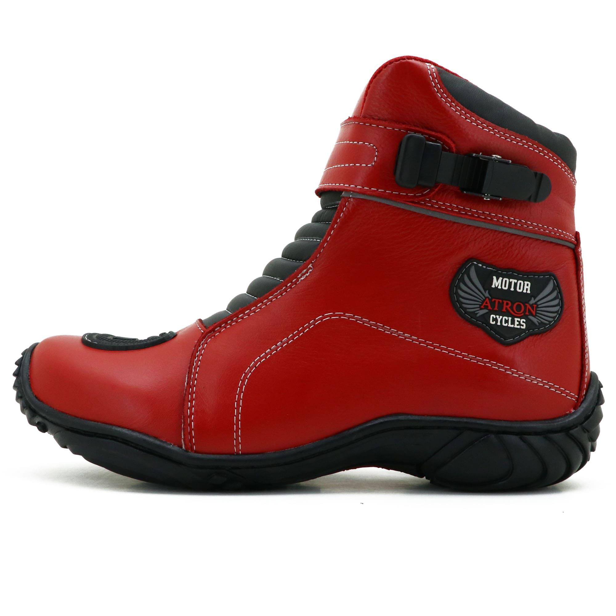 Bota motociclista semi impermeável vermelha e preta em couro legítimo 287 com chinelo