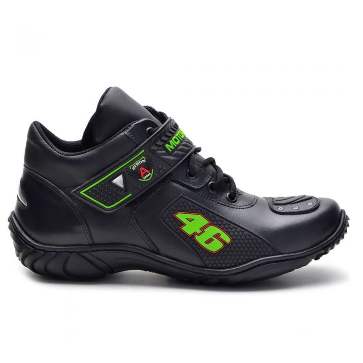 Bota motociclista Valentino Rossi em couro legítimo 46 verde com chinelo Atron Shoes de borracha 401
