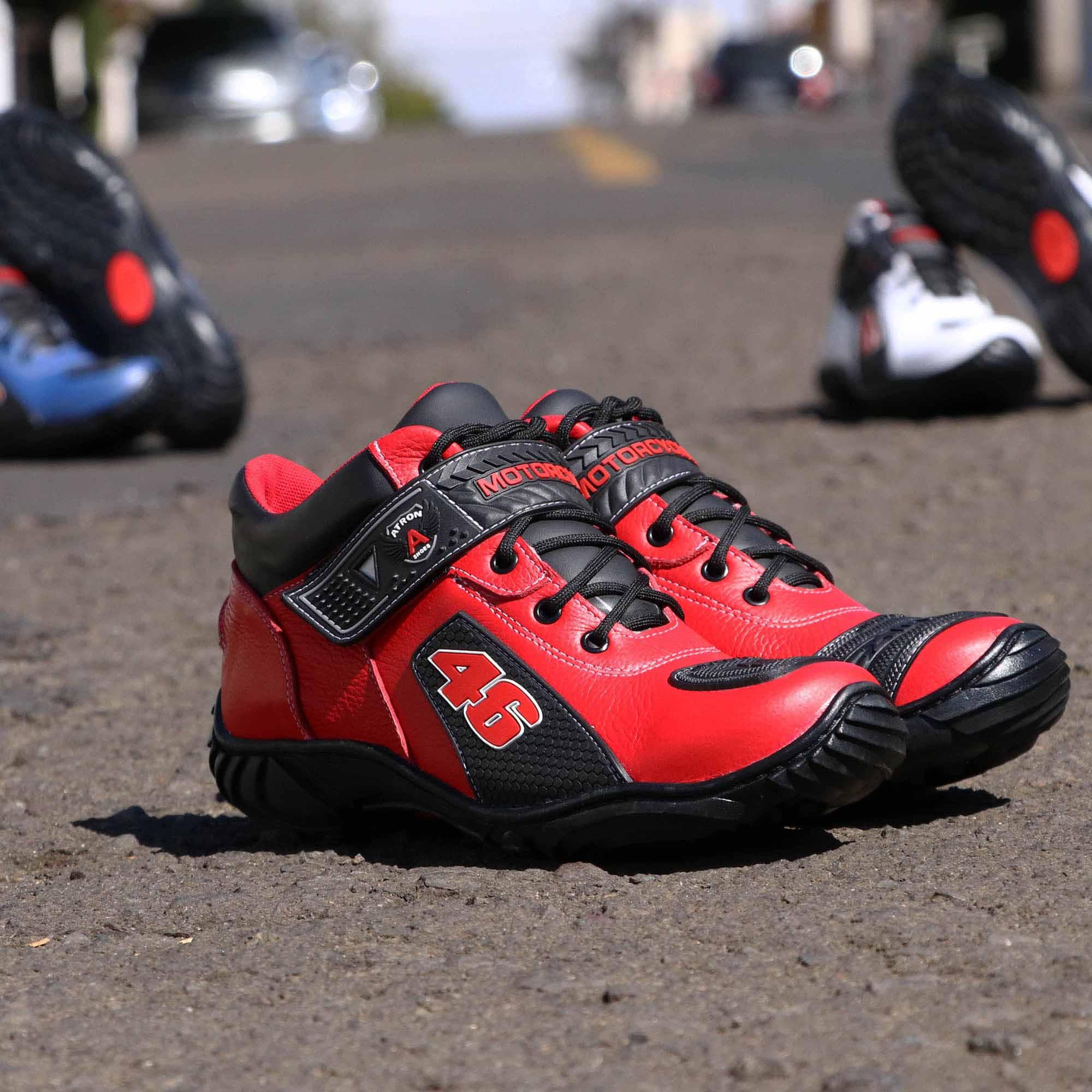 Bota motociclista Valentino Rossi toda vermelha 46 401
