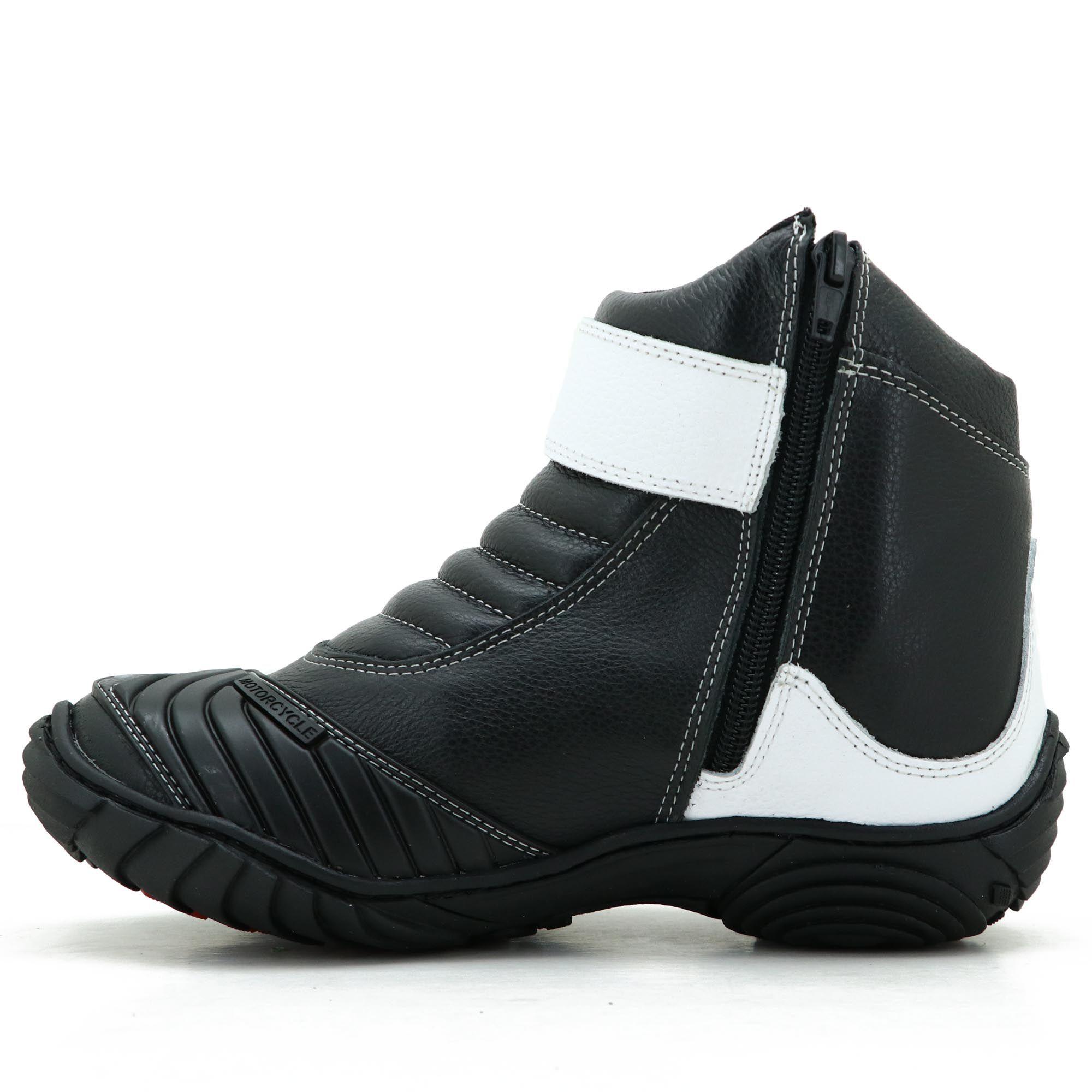 Bota para motociclista de couro legítimo com logo Atron Shoes