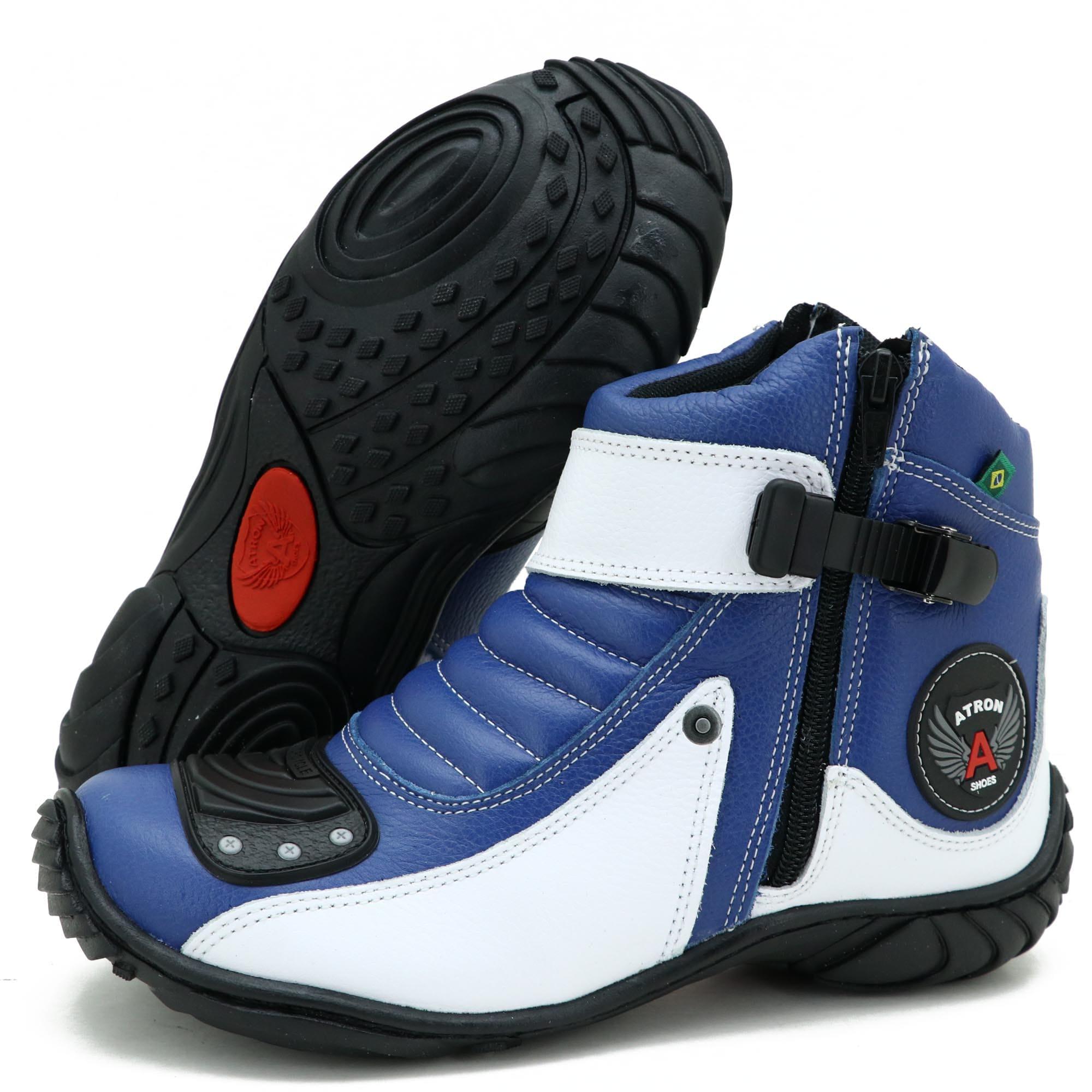 Bota para motociclista em couro Atron Shoes 271 nas cores azul e branco