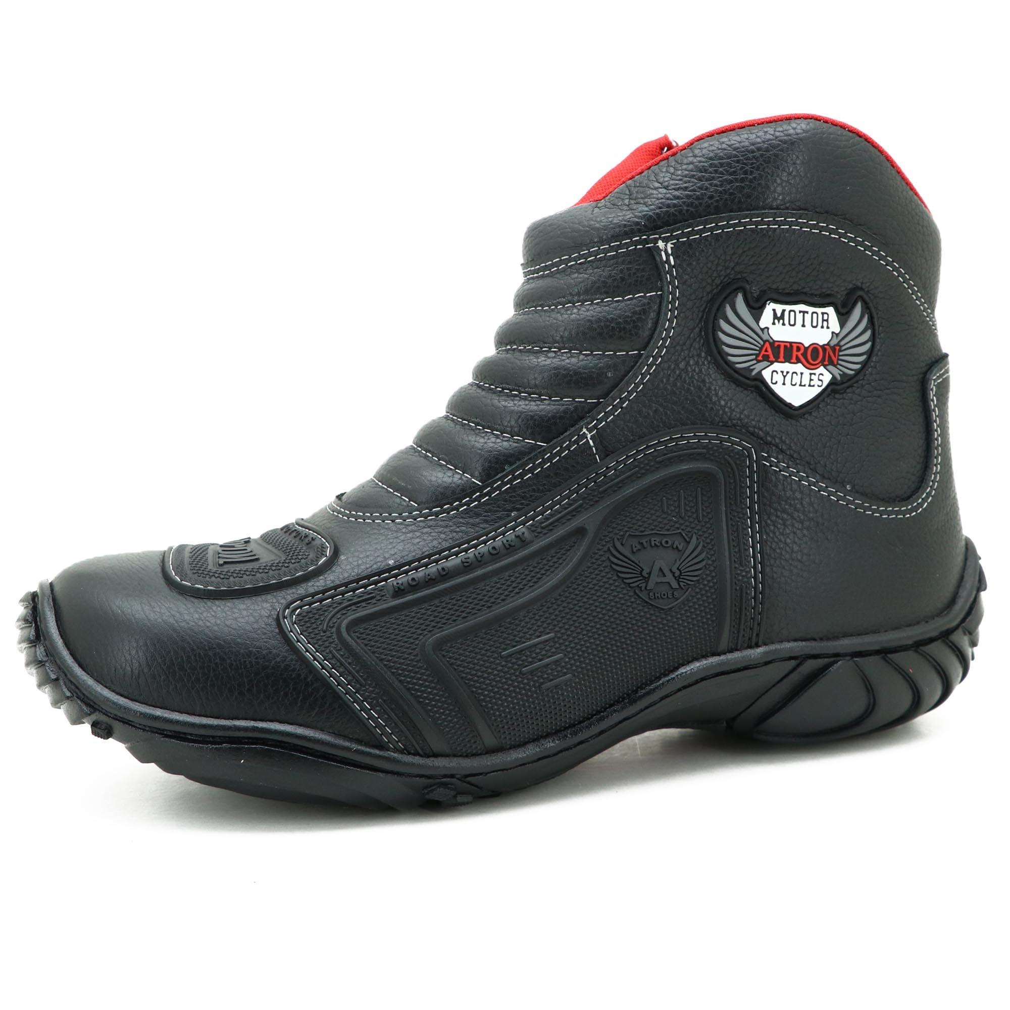 Bota para motociclista preta com borracha 283