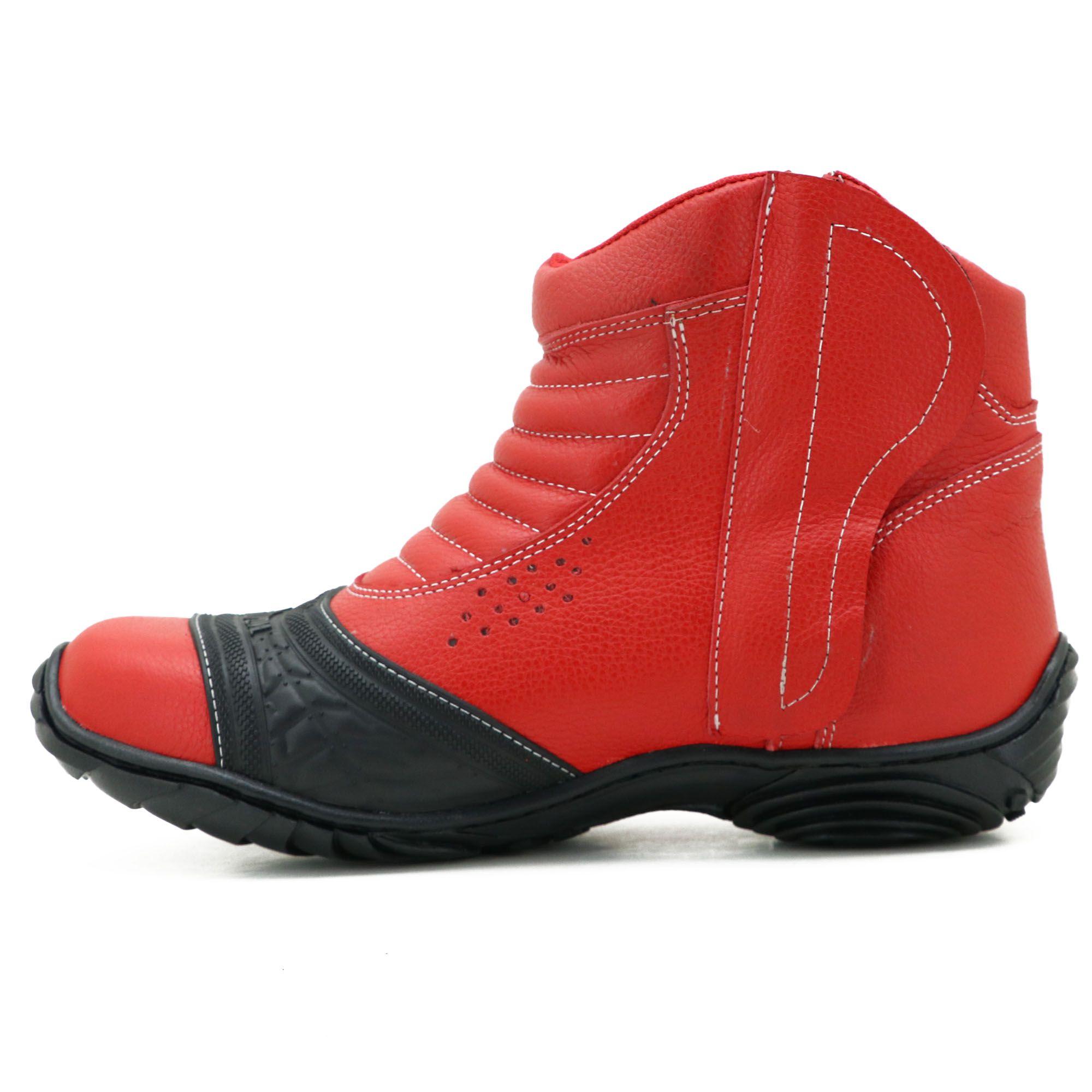 Bota para motociclista vermelha com borracha 283