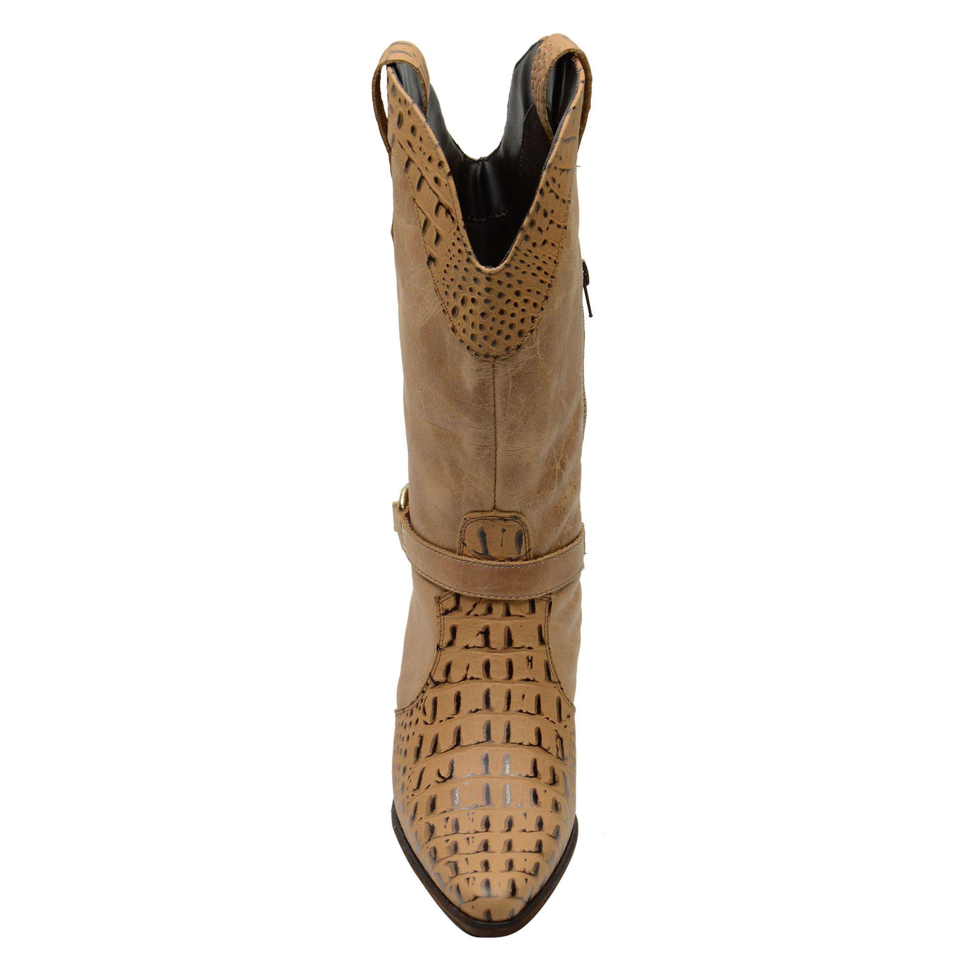 Bota Texana Em Couro Estampa Crocodico - 2622