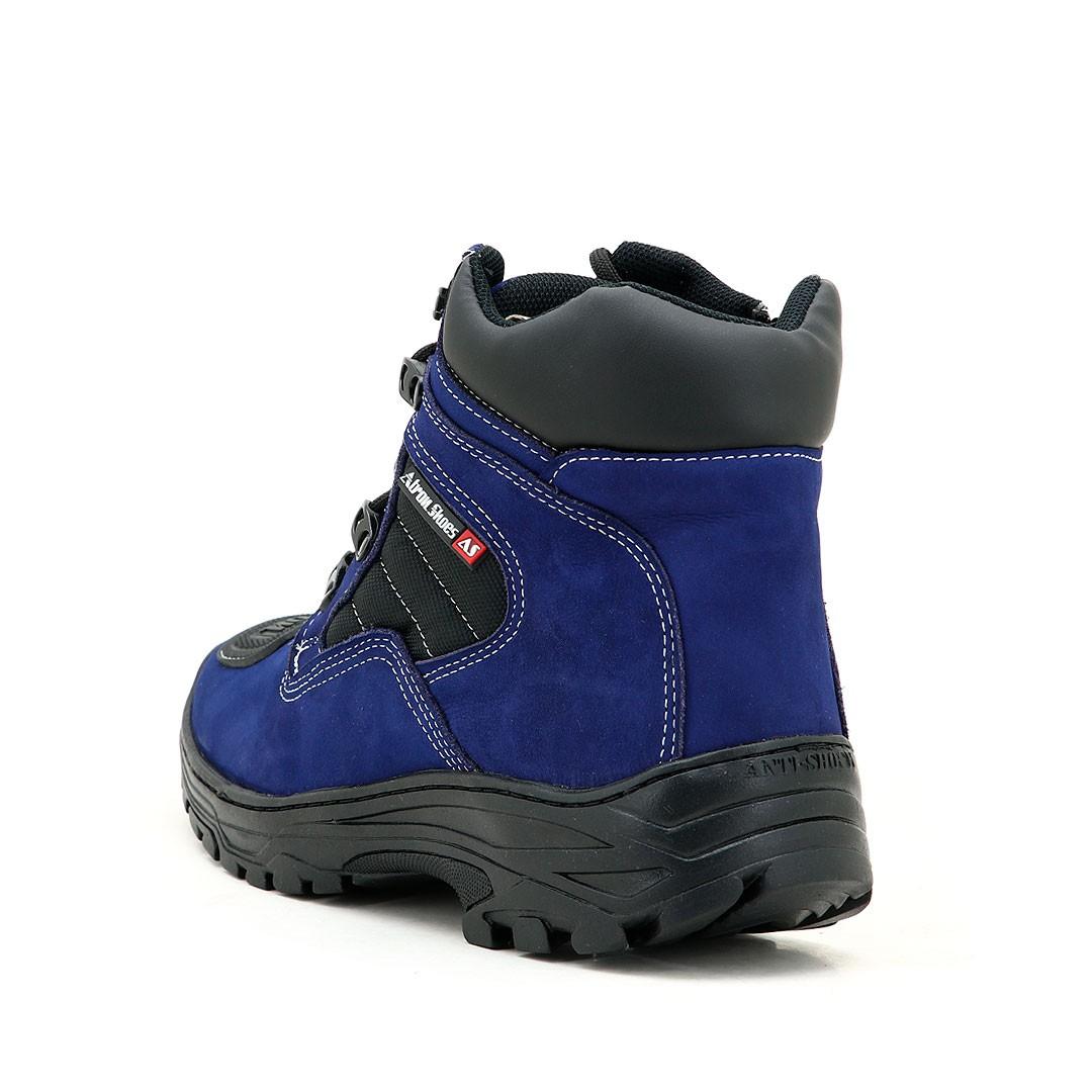 Bota trekking masculina em couro legítimo na cor azul 245