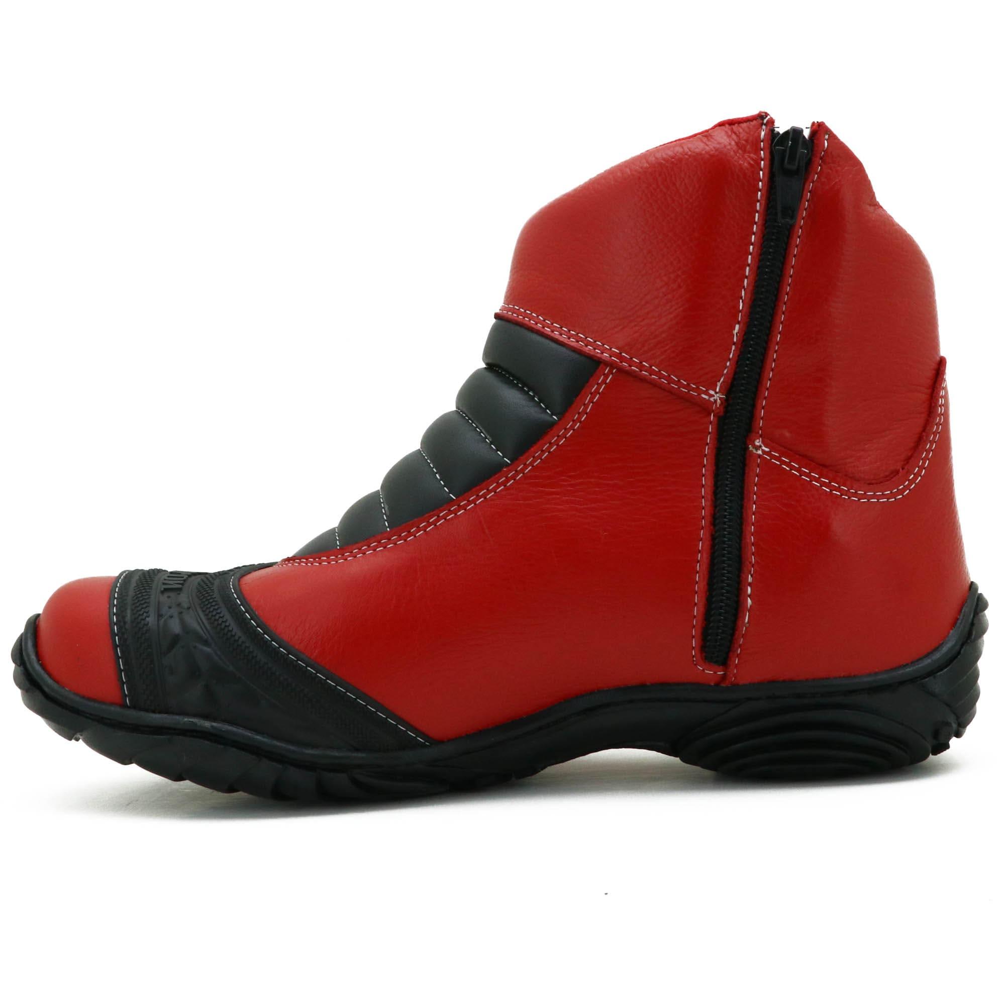 Bota unissex motociclista semi impermeável em couro legítimo vermelho 305