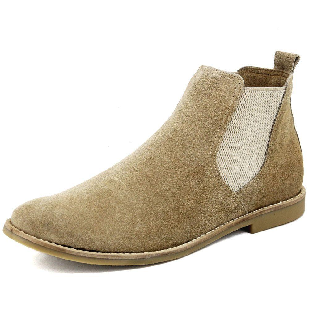 Botina Chelsea Boots Areia Em Couro Camurça 502 5c5a9b9142050