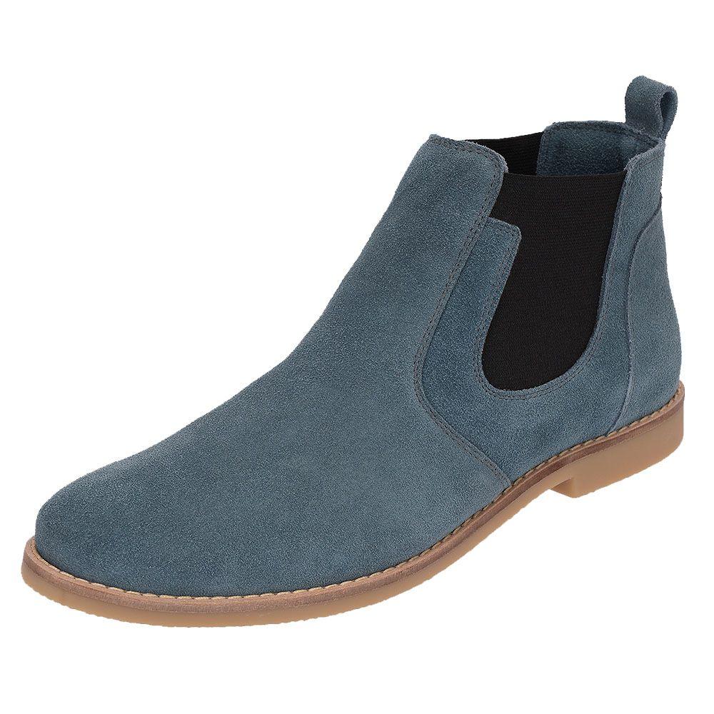 7509173d78 Botina Chelsea Boots Azul Turqueza Em Couro Camurça 501
