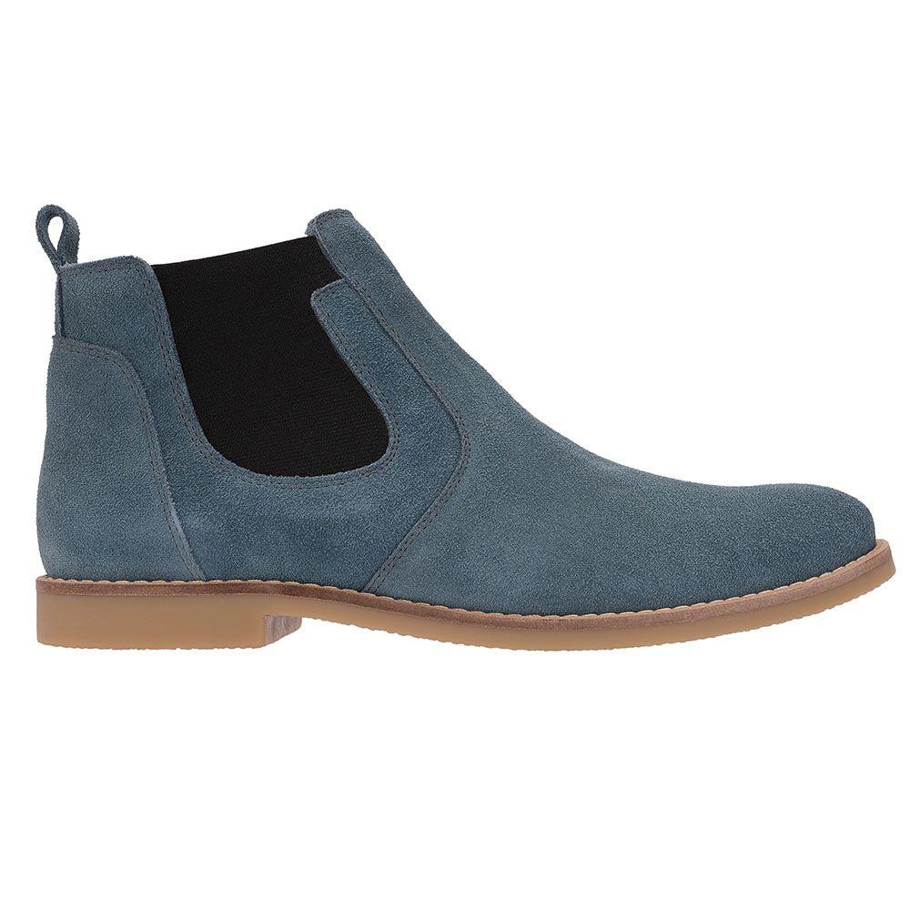 Botina Chelsea Boots Azul Turqueza Em Couro Camurça 501