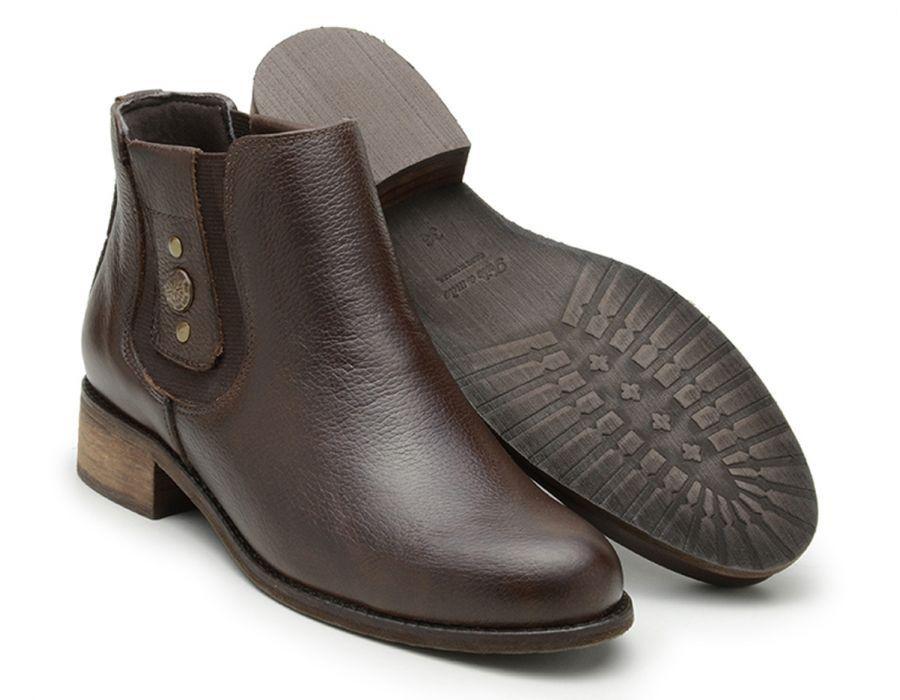 Botina Chelsea Boots Feminina Couro Legitimo 2464 Marrom