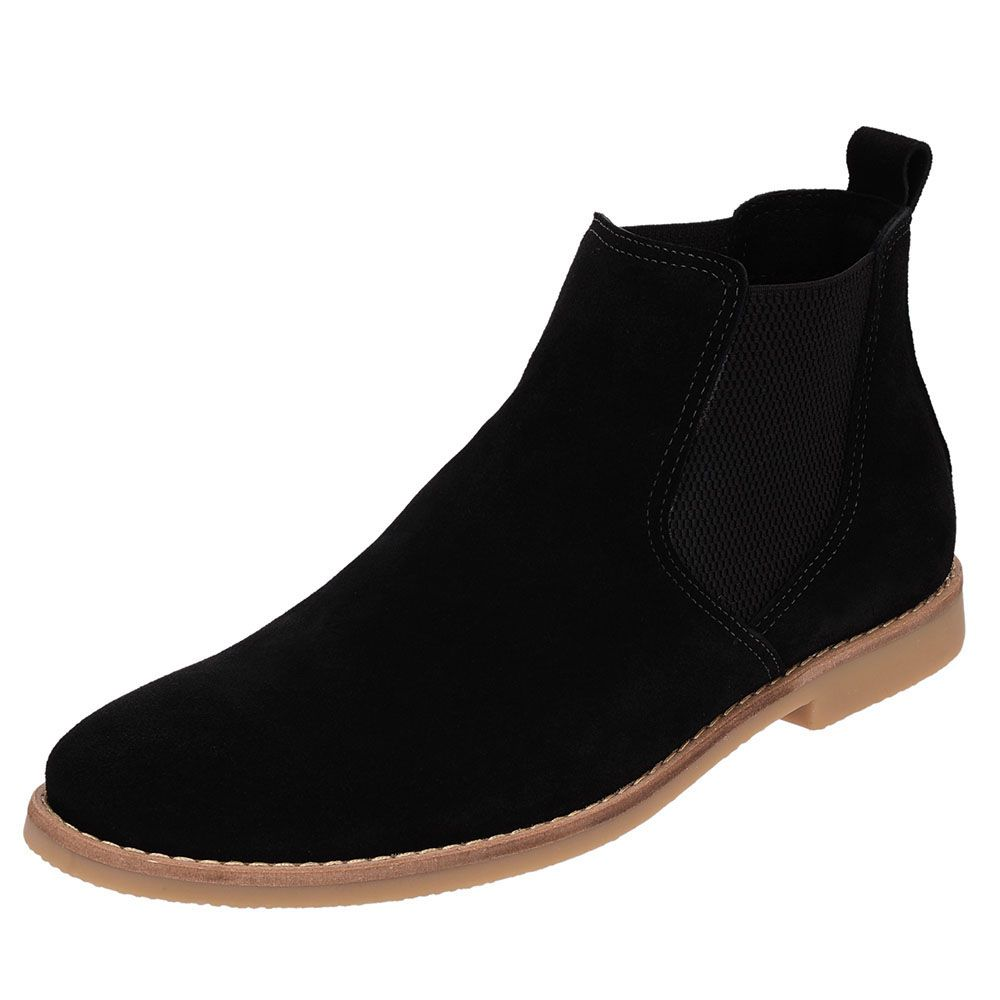 Botina Chelsea Boots Preta Turqueza Em Couro Camurça 502