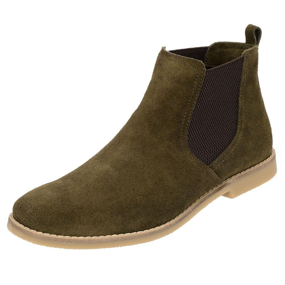 Botina Chelsea Boots Verde Militar Couro Camurça 502