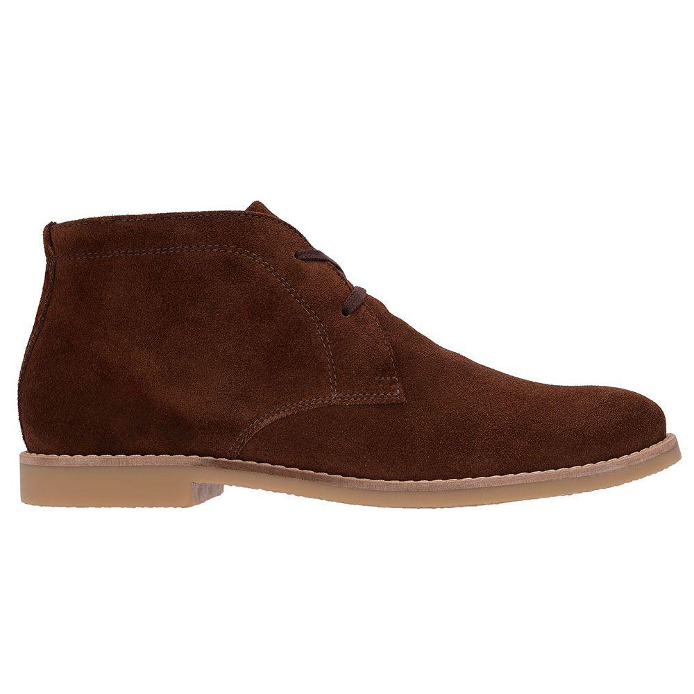Botina Luxury Desert Boots Chelsea Com Cadarço Café 503