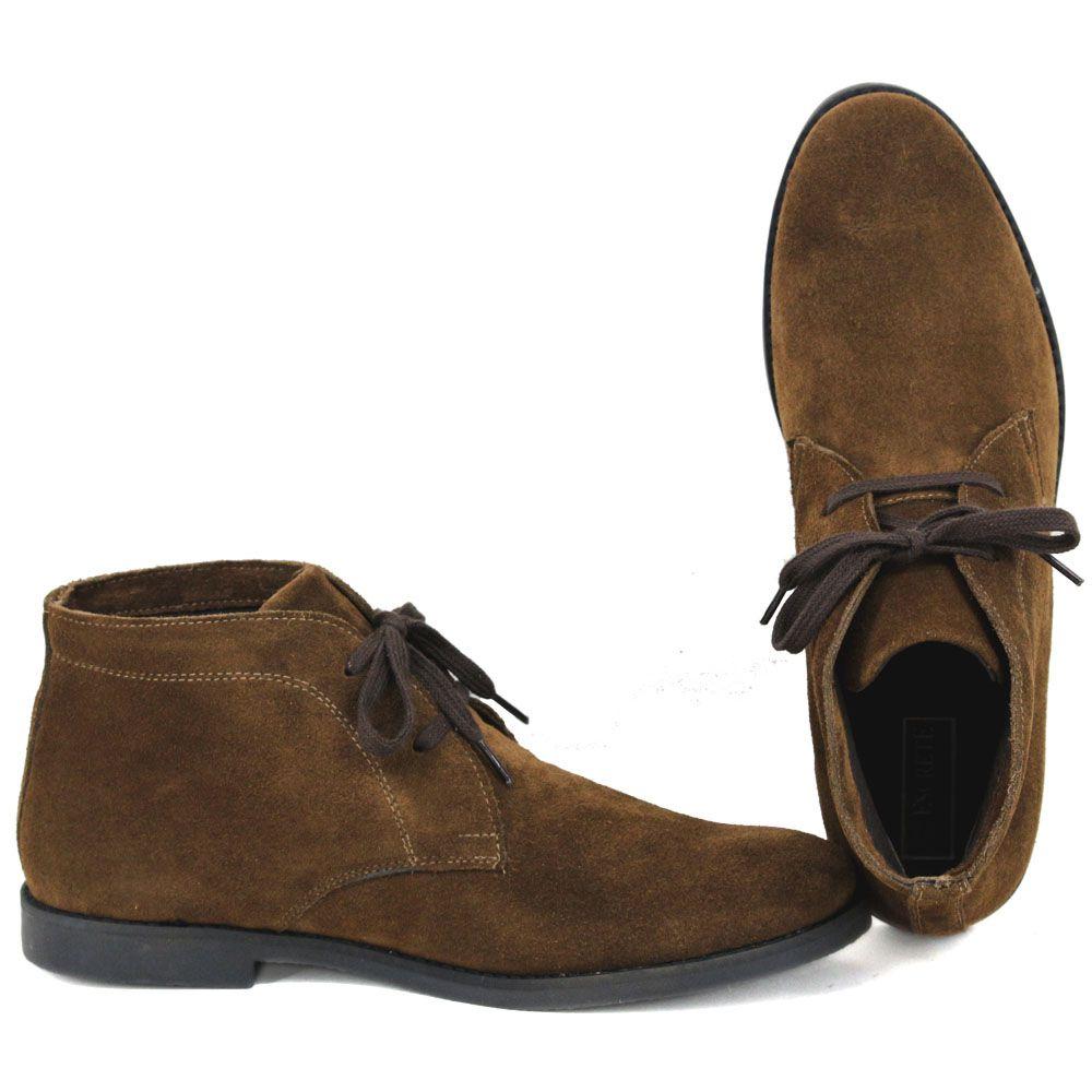 Botina Luxury Desert Boots Chelsea Com Cadarço Café Com Sola Preta 503
